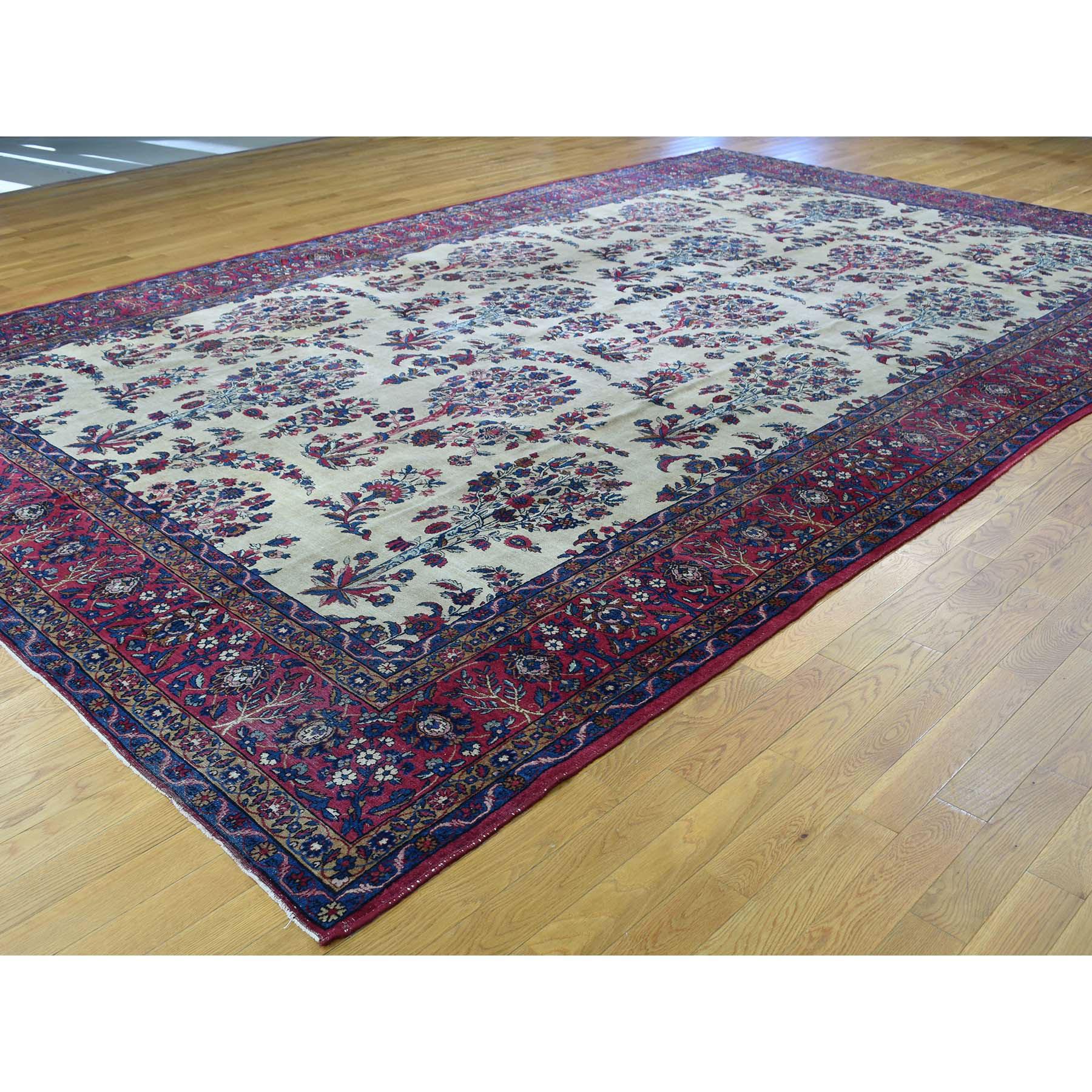 9-9 x15-8  Handmade Gallery Size Antique Persian Kerman Even Wear Rug