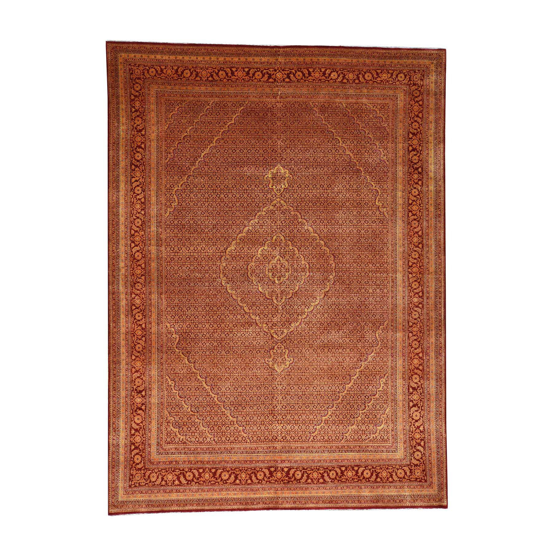 "9'2""X12'5"" Tabriz Mahi Wool & Silk Burnt Orange And Red Hand Knotted Oriental Rug moacc7cc"