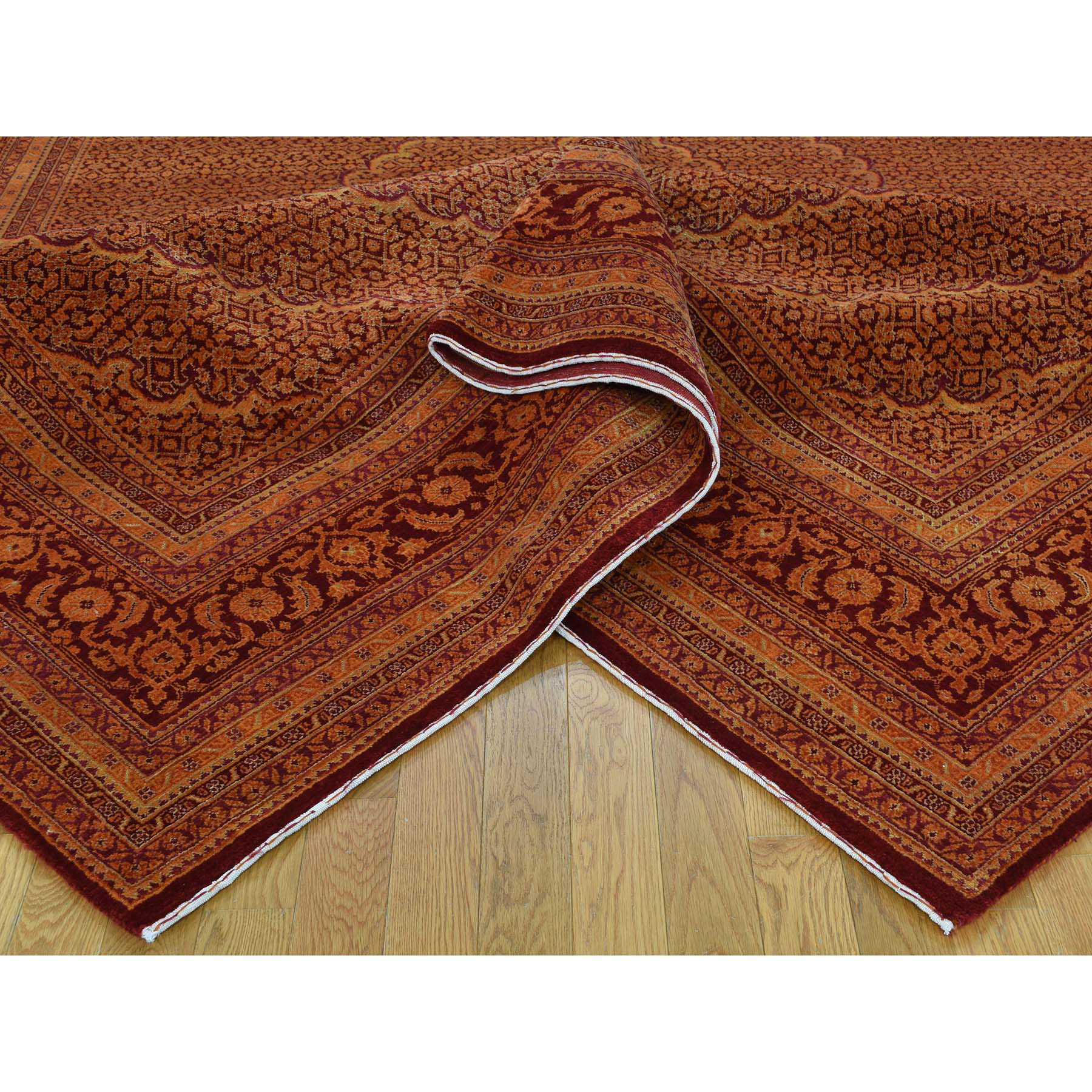 "9'2""x12'5"" Tabriz Mahi Wool & Silk Burnt Orange and Red Hand Knotted Oriental Rug"