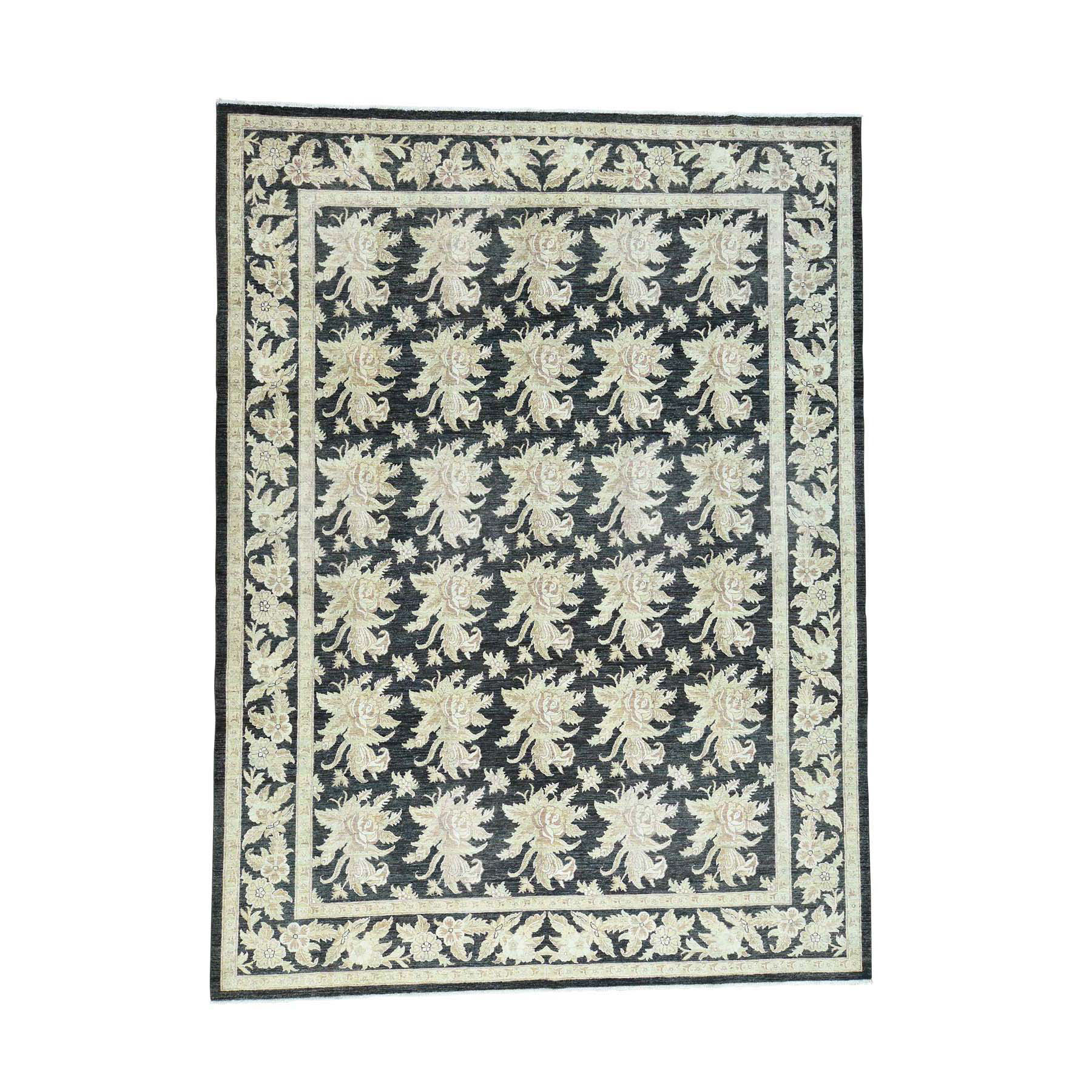 "9'1""x12'4"" Dense Weave Peshawar With Flower Design Hand-Knotted Rug"
