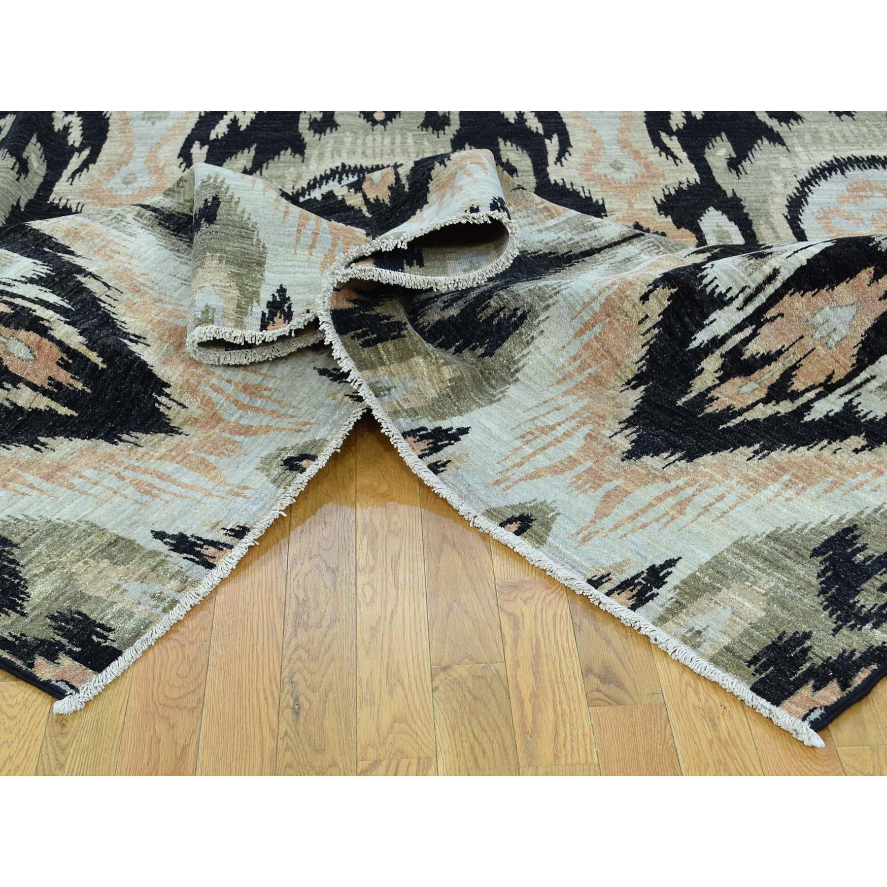 "9'1""x13' 100 Percent Wool Ikat Uzbek Design Hand-Knotted Oriental Rug"