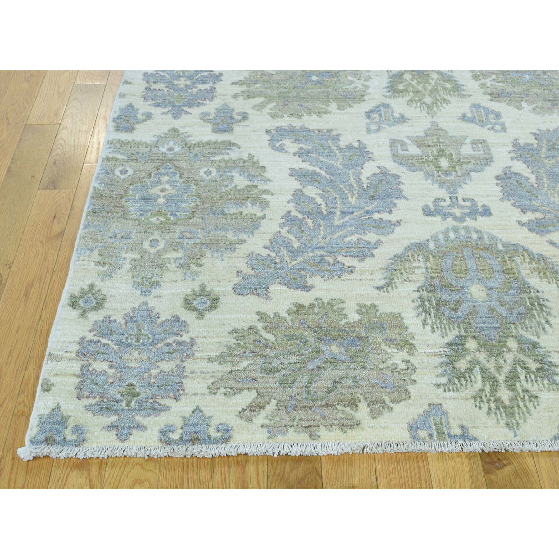 9-1 x12- Hand-Knotted Peshawar With Leaf Design Pure Wool Oriental Rug
