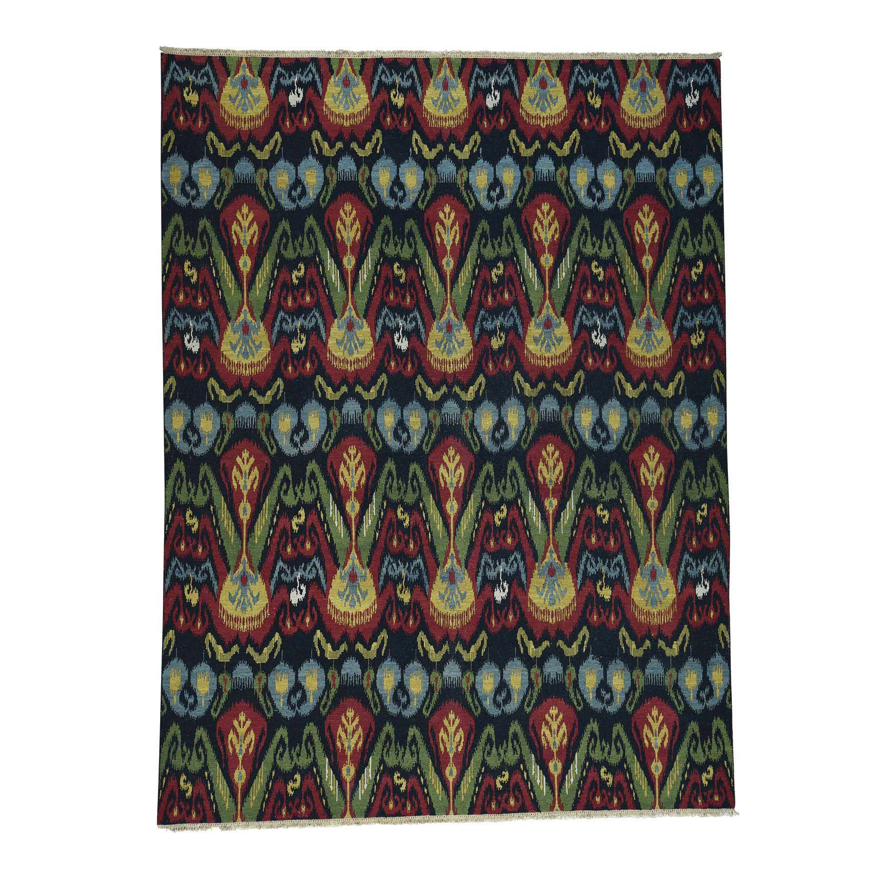 "8'10""x11'10"" On Clearance Ikat Design Soumak Double Weft Hand-Woven Oriental Rug"