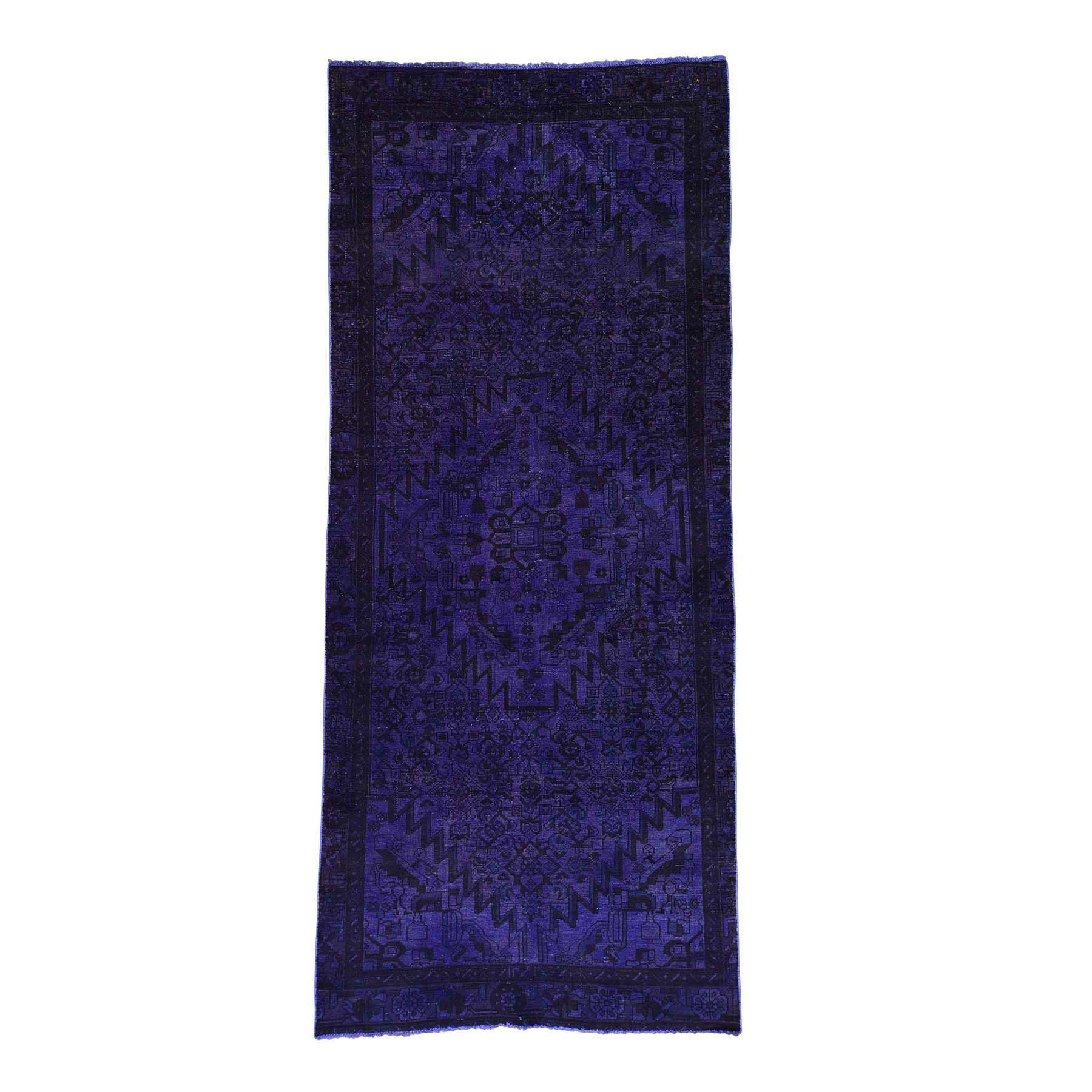 "4'x10'6"" Hand-Knotted Purple Overdyed Hamadan Pure Wool Wide Runner Rug"