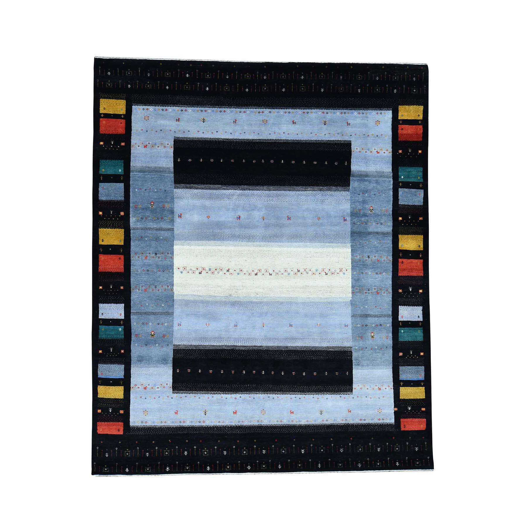 "8'3""x10'1"" Hand-Knotted 100 Percent Wool Folk Art Gabbeh Oriental Rug"