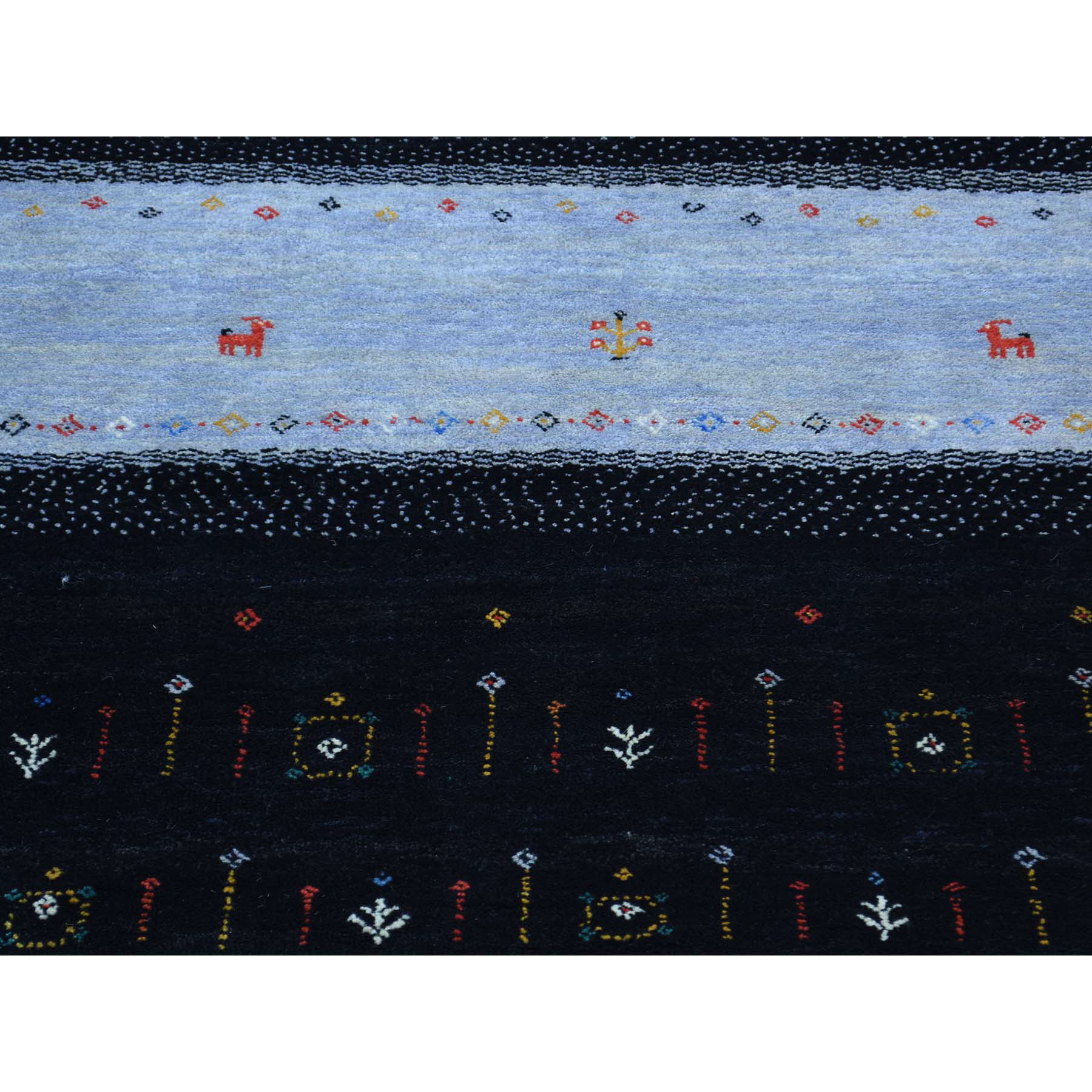 8-3 x10-1  Hand-Knotted 100 Percent Wool Folk Art Gabbeh Oriental Rug