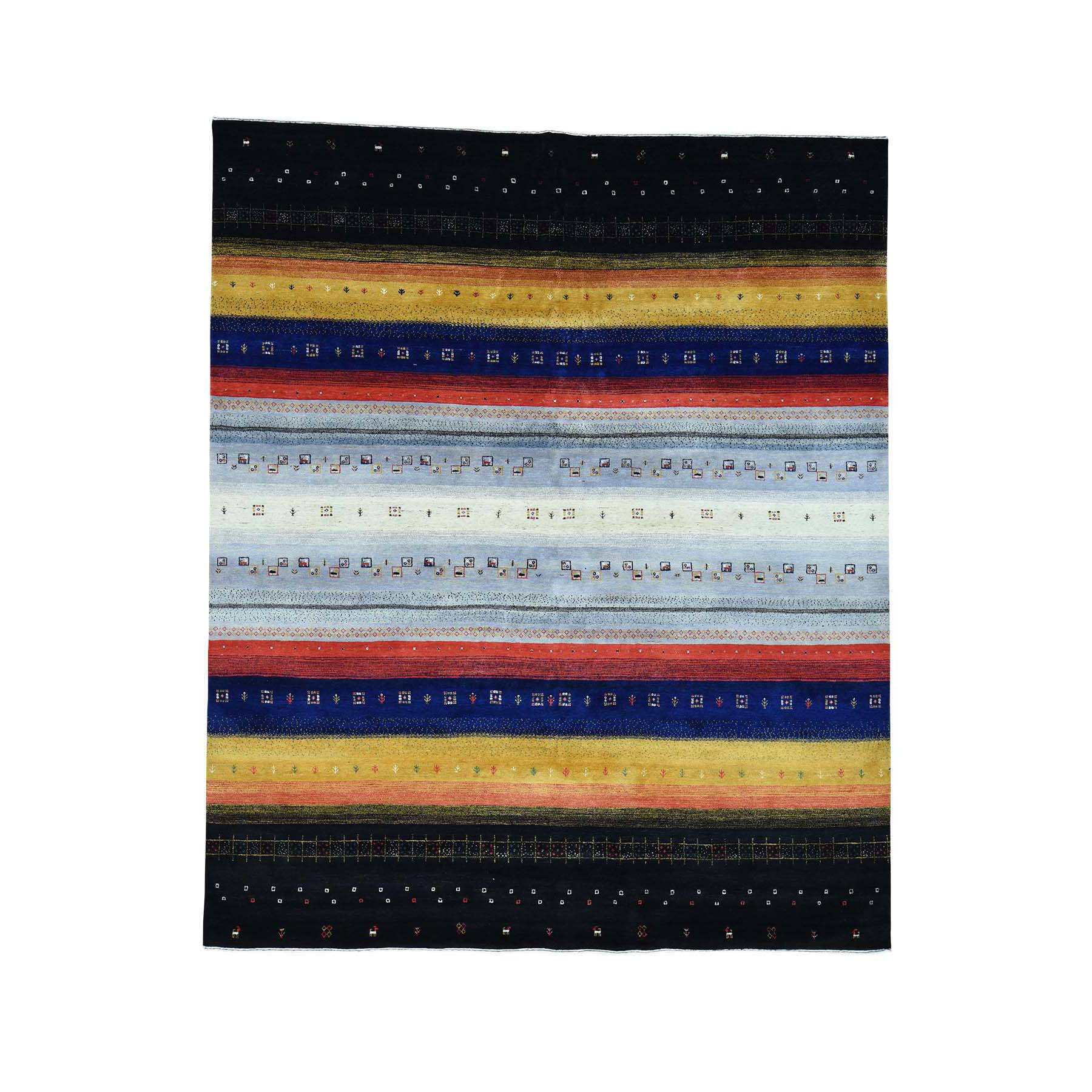 "8'1""x9'9"" 100 Percent Wool Hand-Knotted Folk Art Gabbeh Oriental Rug"