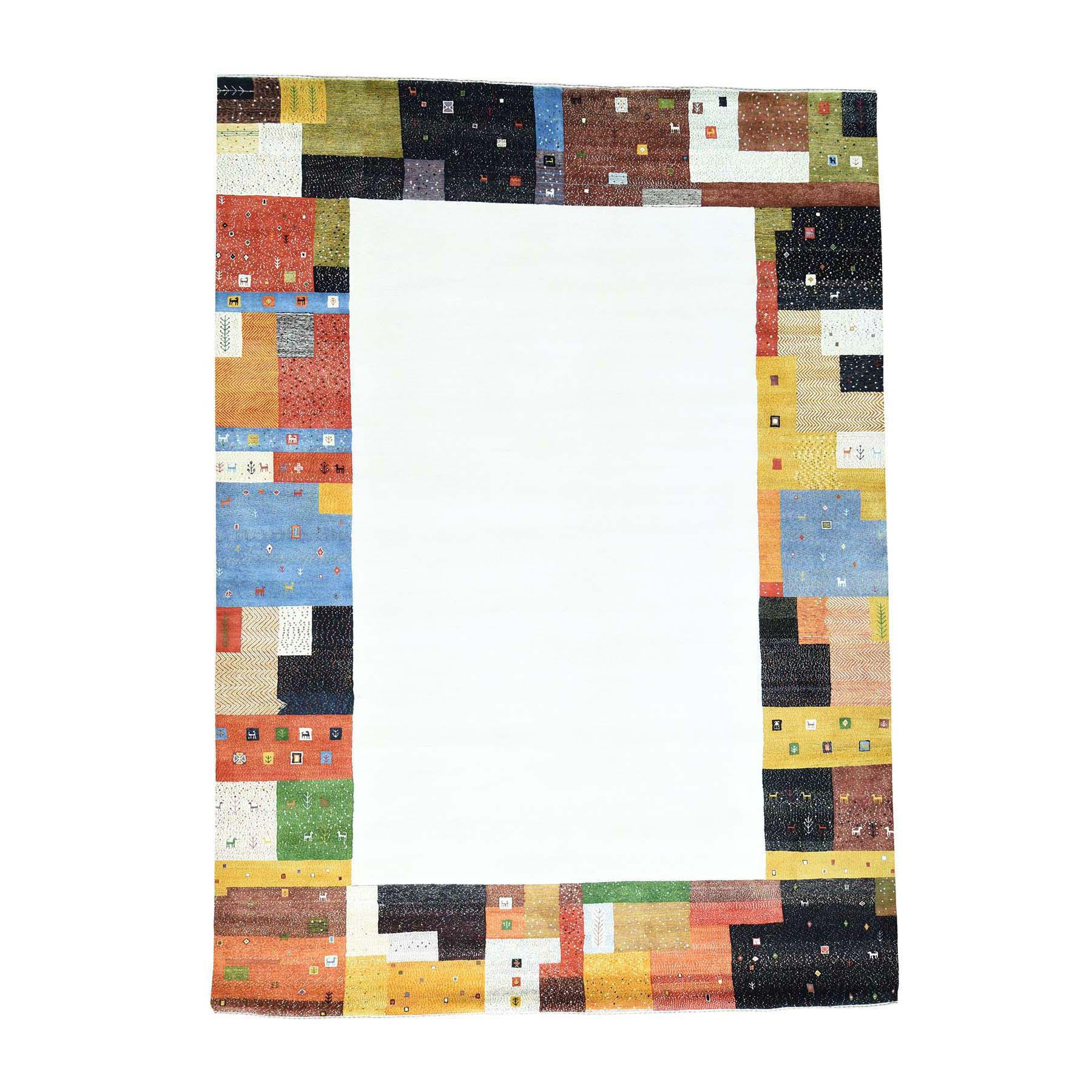 "9'8""X13'5"" 100 Percent Wool Hand-Knotted Folk Art Gabbeh Oriental Rug moacd0ab"