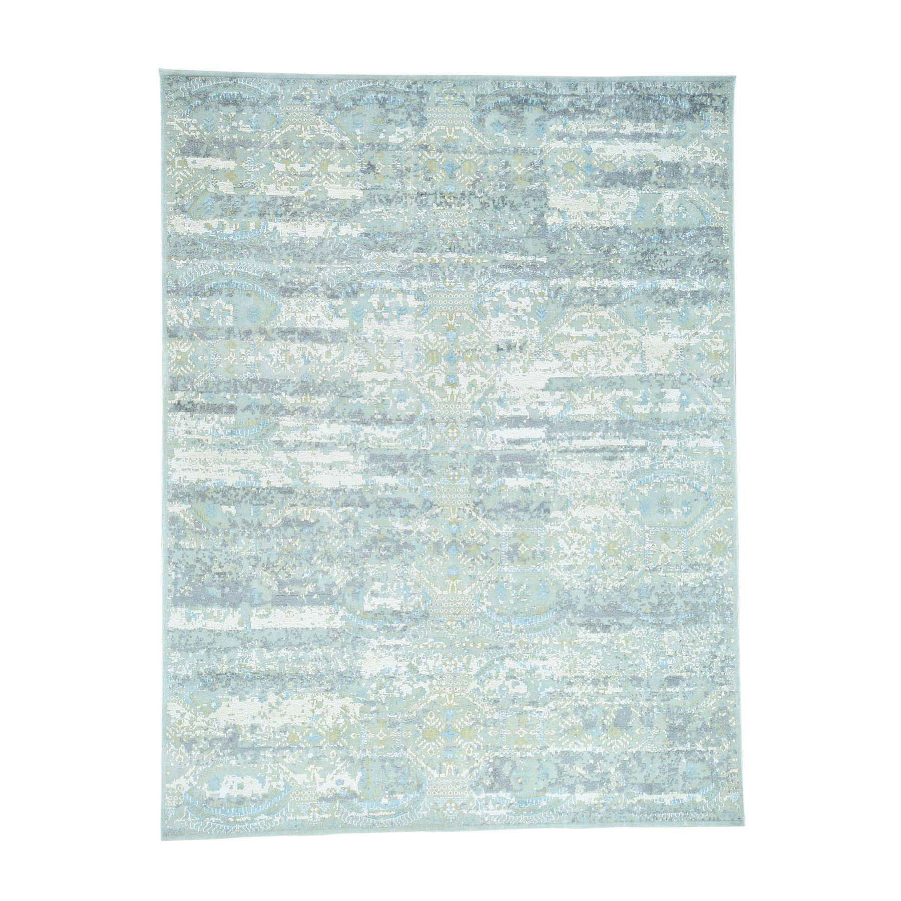 "7'8""X10'1"" Oxidized Wool With Silk High And Low Pile Modern Rug moacd0ad"
