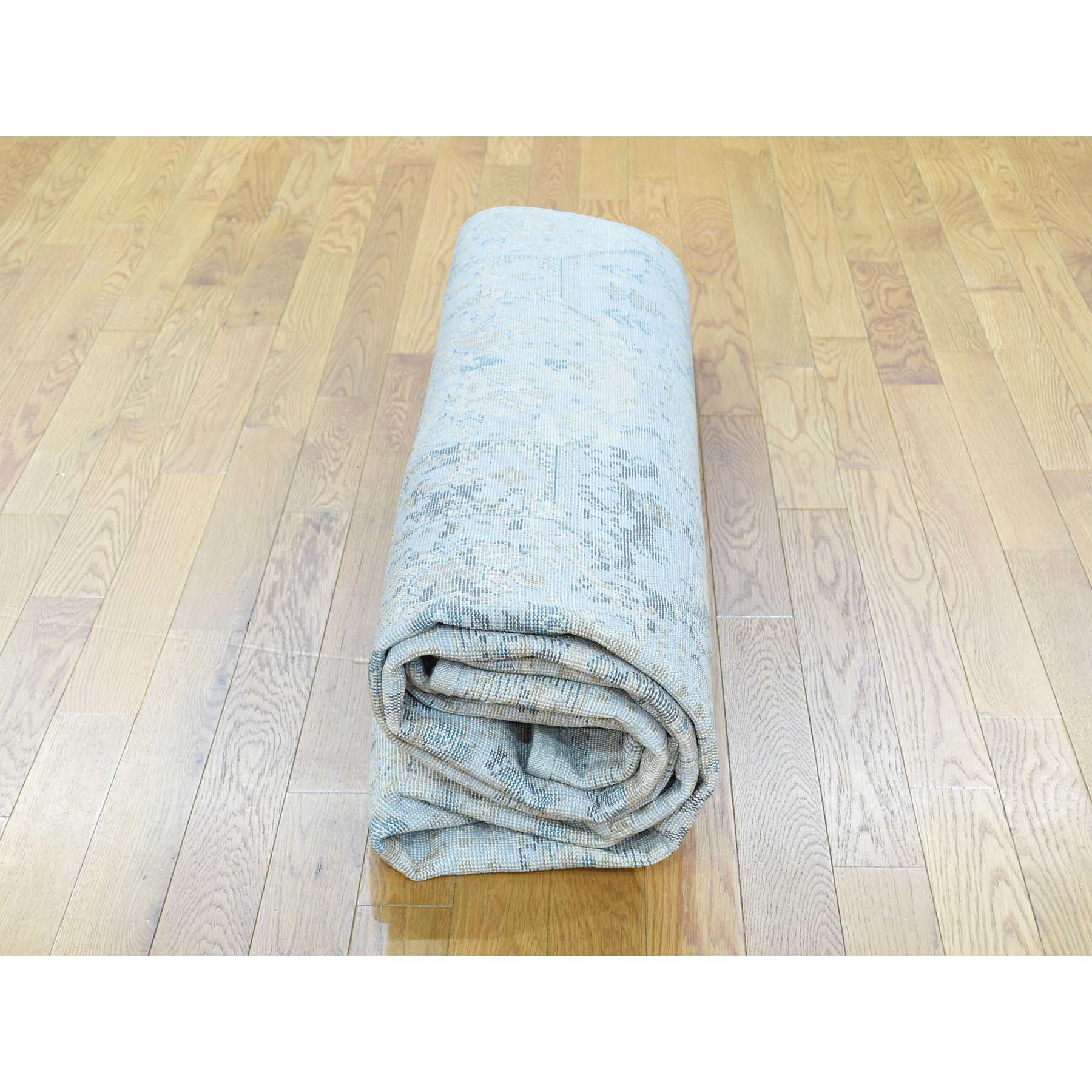 "7'8""x10'1"" Textured Wool With Silk High And Low Pile Modern Rug"