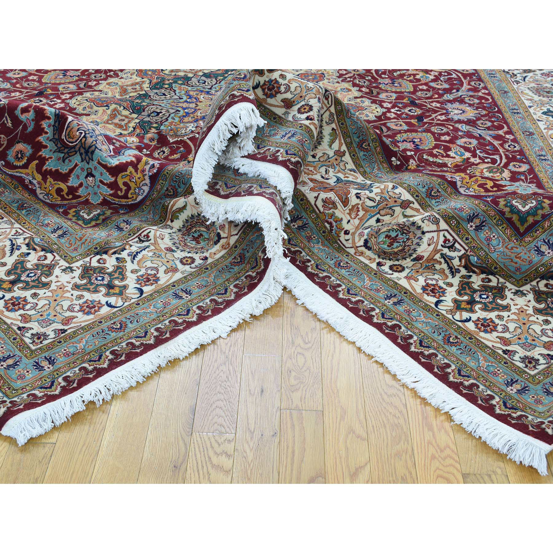 9-9 x12-8  Persian Tabriz 400 Kpsi Wool and Silk Handmade Oriental Rug