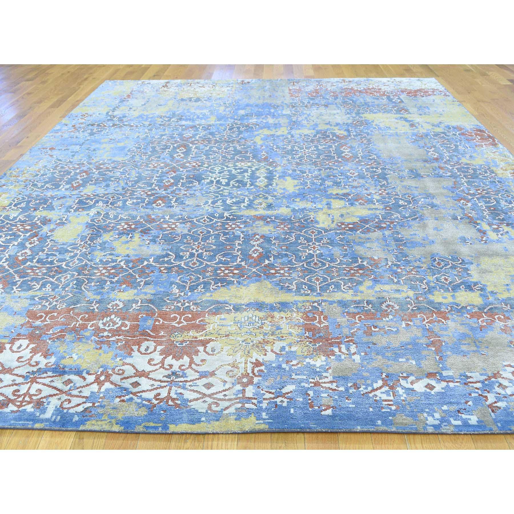 9-9 x14- Textured Wool With Silk Abstract Design Handmade Rug
