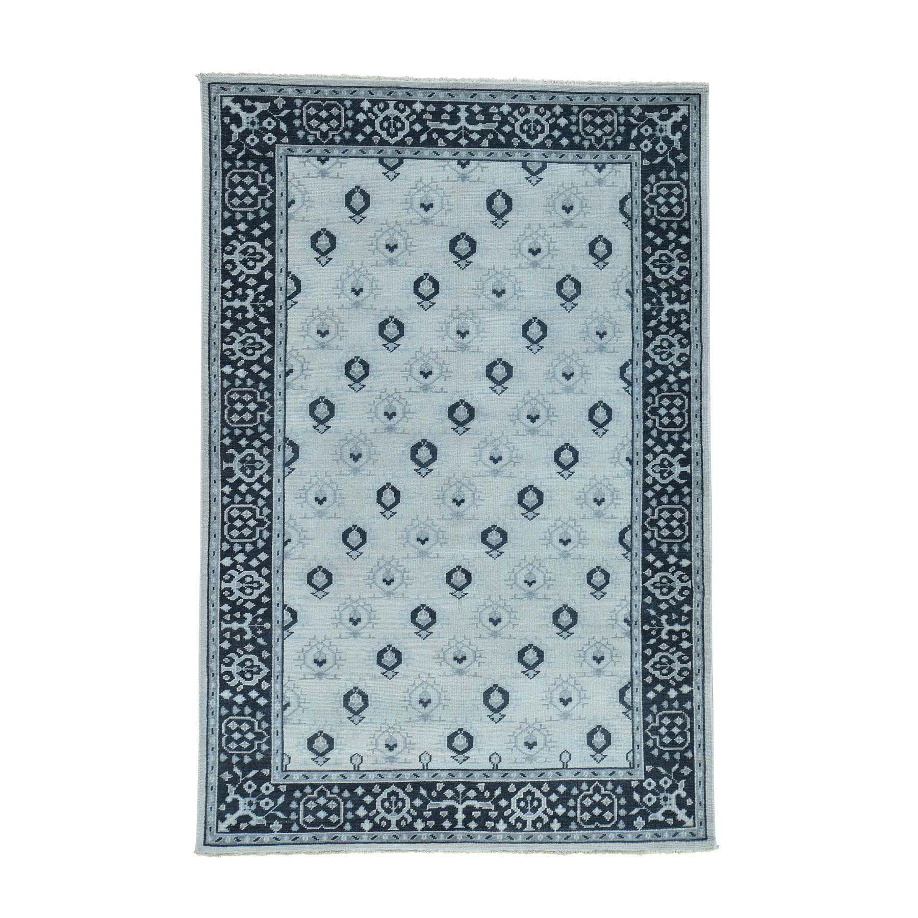 "5'x6'10"" Handmade Pure Wool Turkish Knot Oushak Cropped Thin Rug"