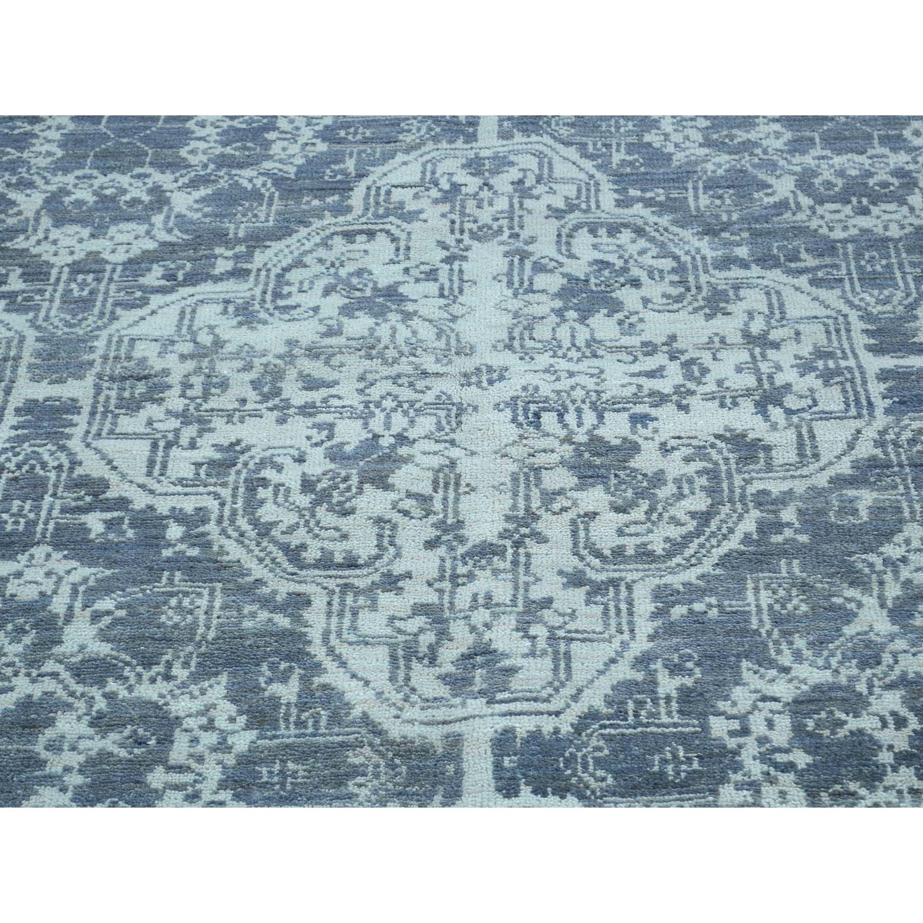 "7'8""x10' Handmade Wool And Silk Geometric Moughal Design Oriental Rug"