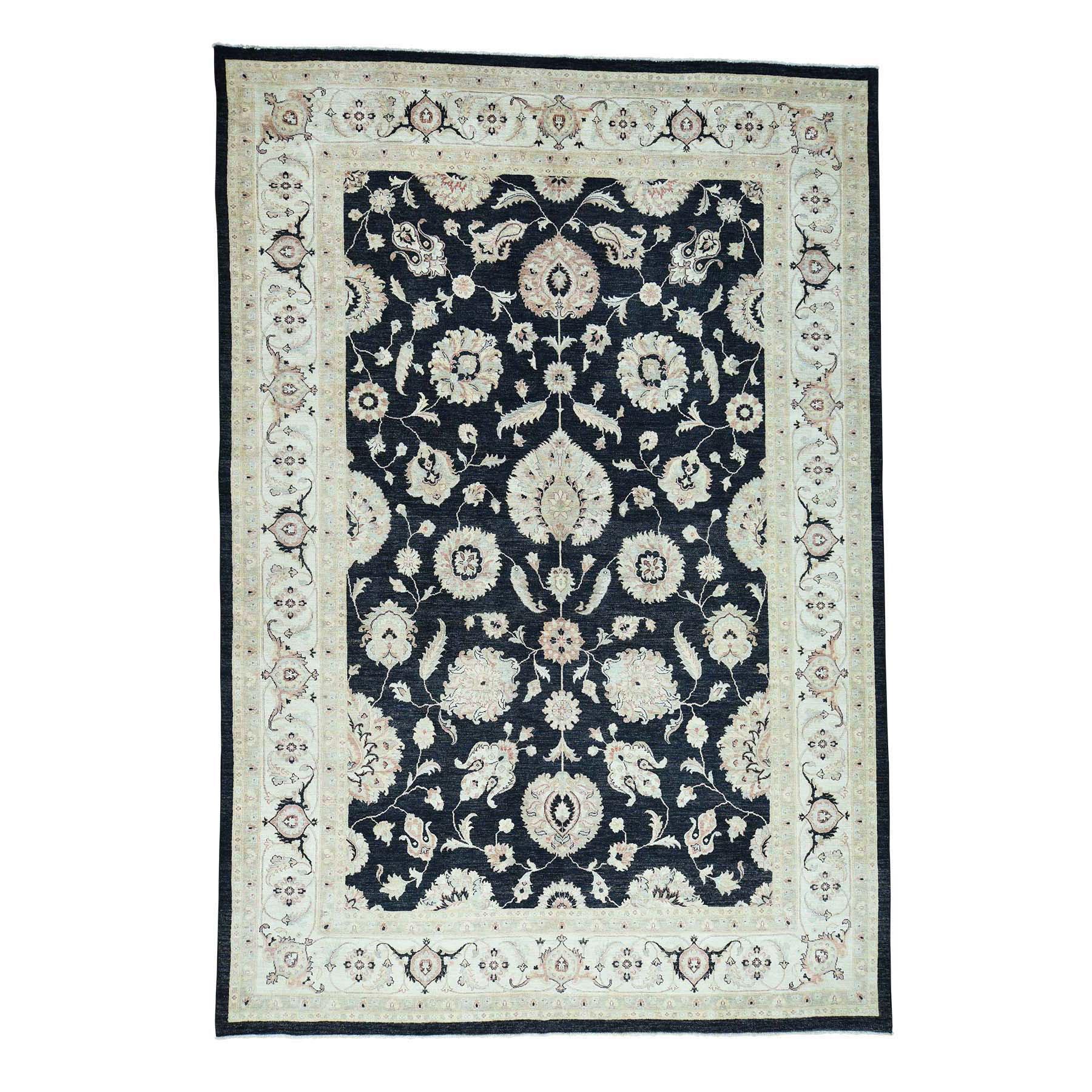 "10'X14'7"" Hand-Knotted 100 Percent Wool Black Peshawar Oriental Rug moacd089"