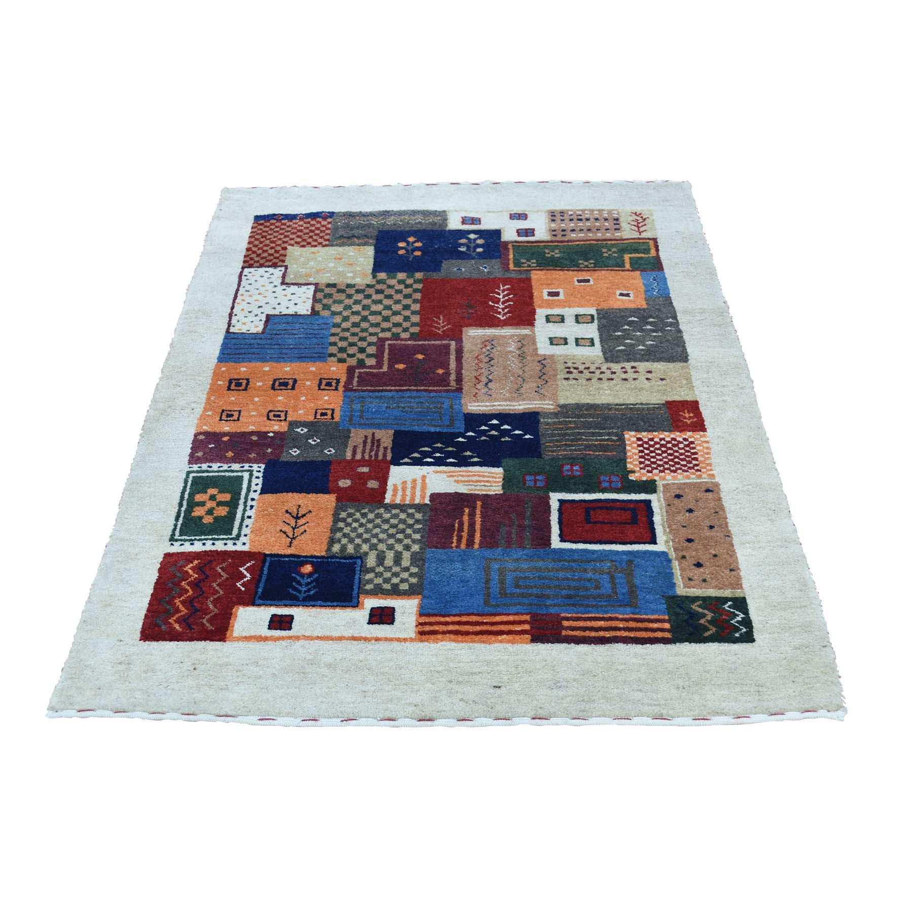 """2'10""""x4'3"""" Hand-Knotted 100 Percent Wool Lori Buft Gabbeh Oriental Rug"""