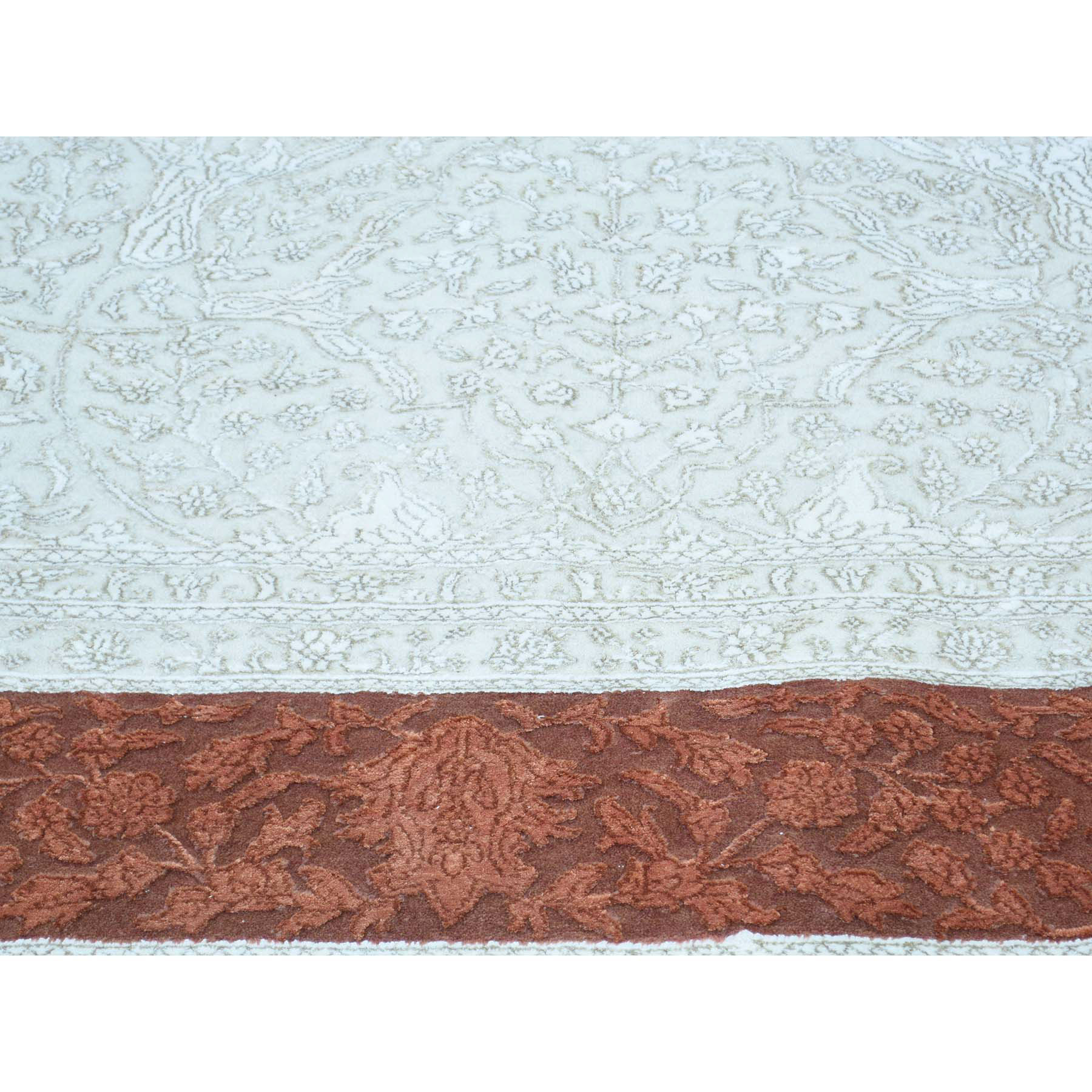 "9'7""x13'9"" Tone on Tone Tabriz Half Wool and Half Silk Hand-Knotted Rug"