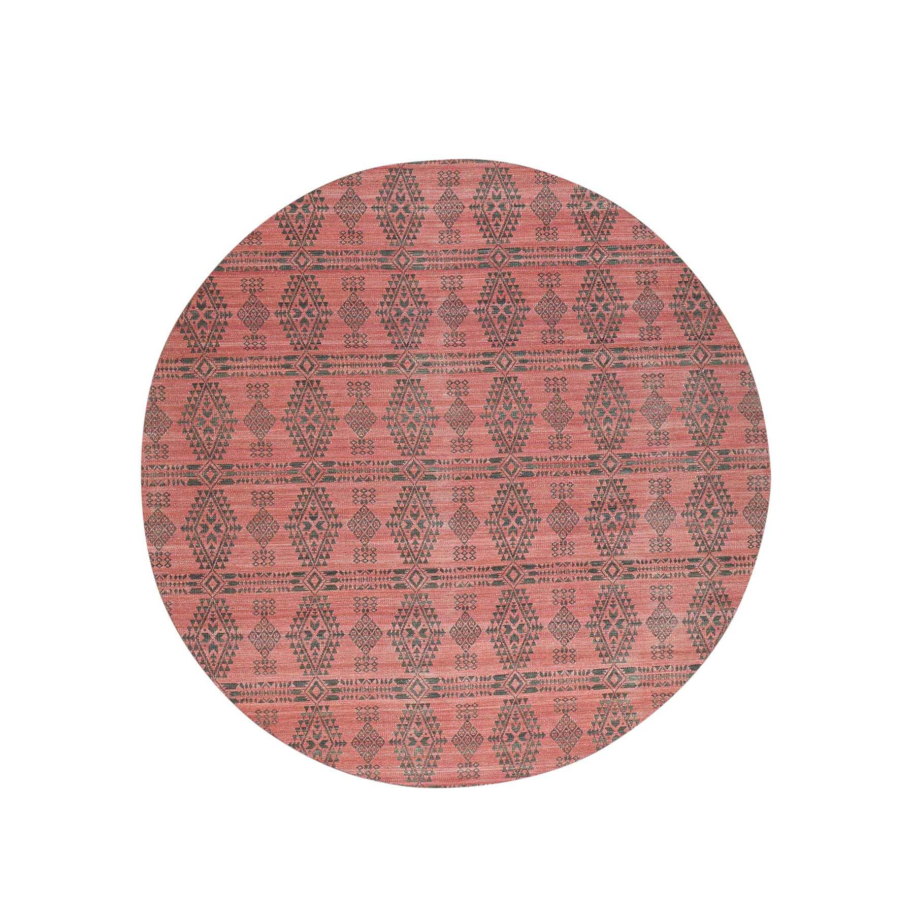 10'X10' Hand-Woven Reversible Kilim Flat Weave Round Oriental Rug moacdc7e