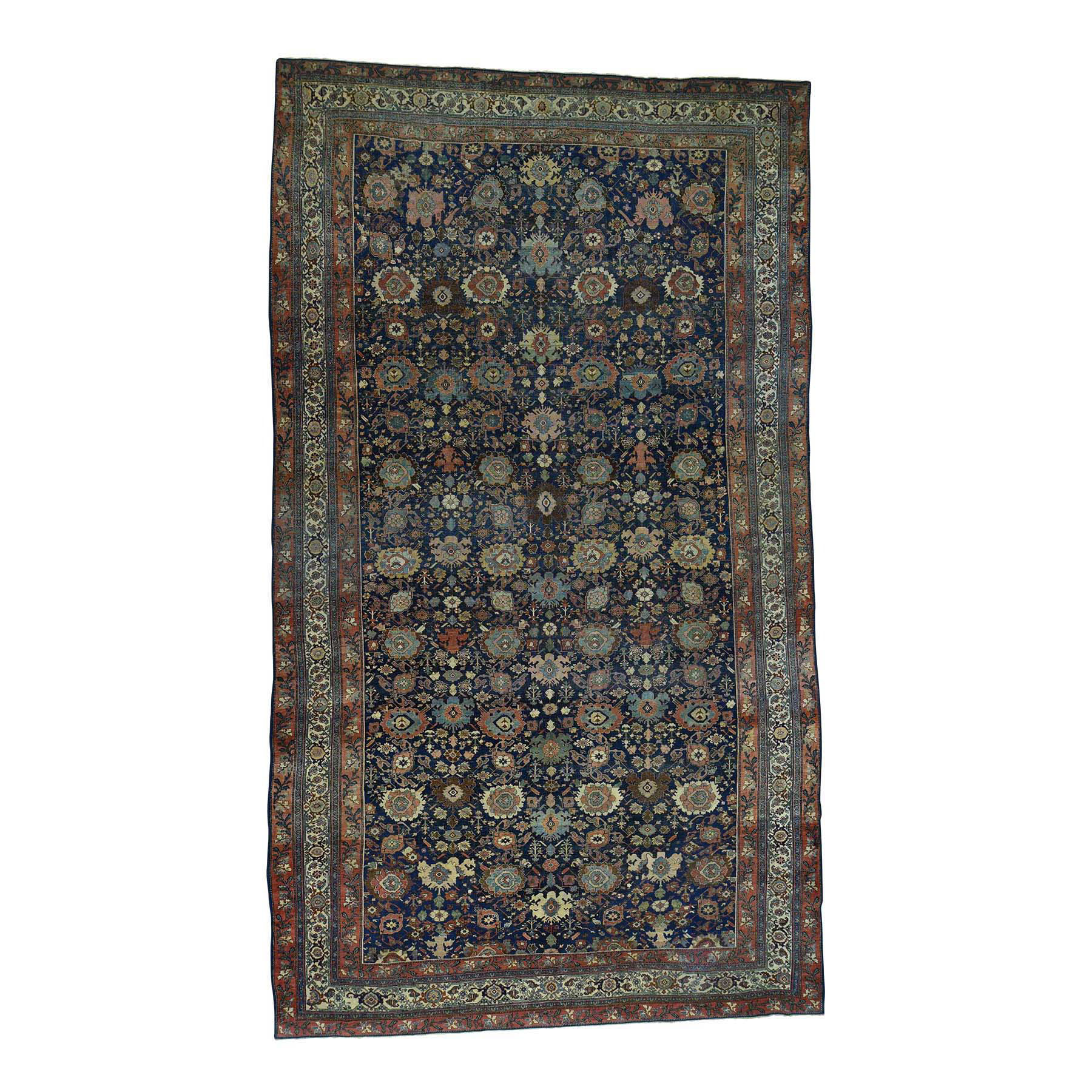"10'10""X19' Hand-Knotted Antique Persian Bijar Even Wear Oversize Rug moacdda9"