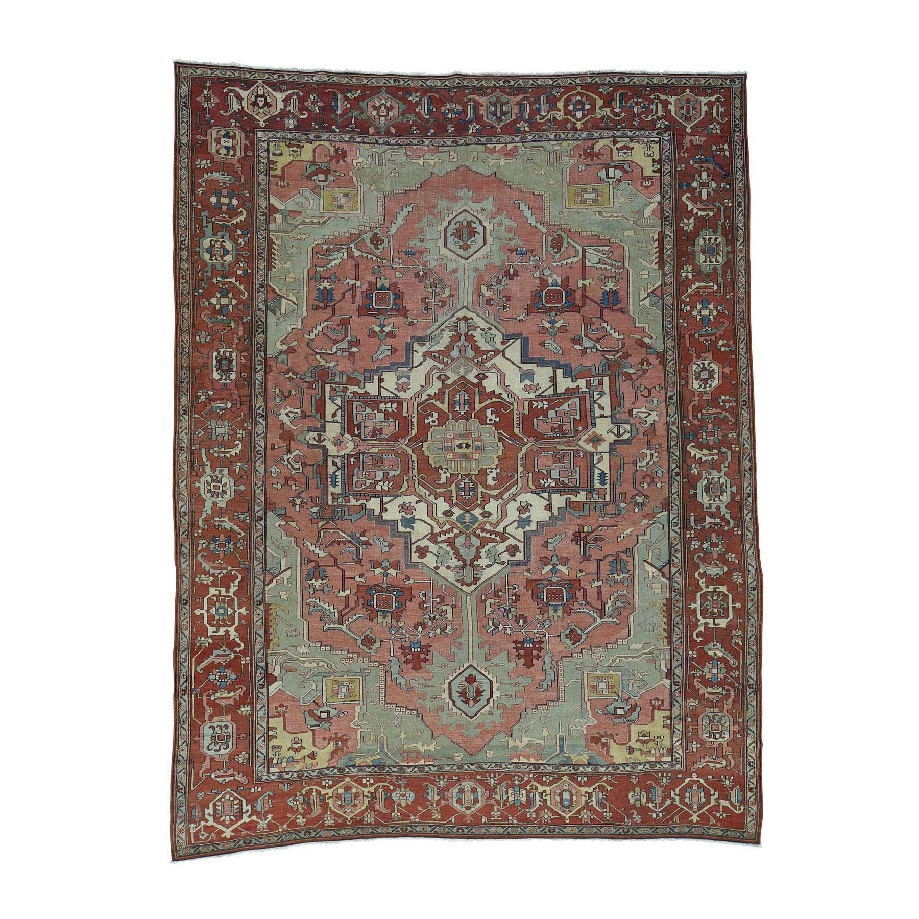 "9'5""X12'8"" Hand-Knotted Antique Persian Serapi Good Cond Even Wear Rug moacddb6"