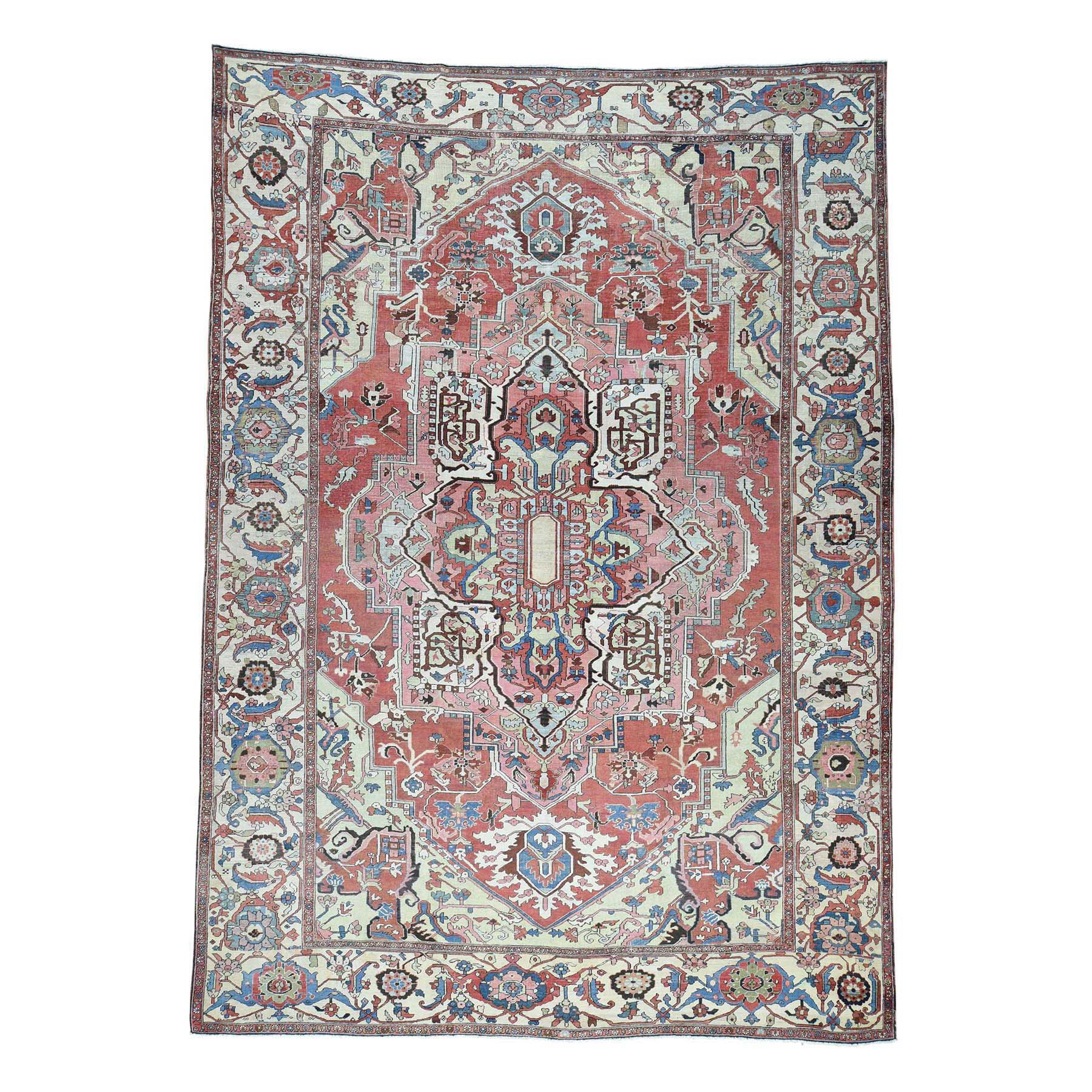 "10'1""X14'1"" Hand-Knotted Antique Persian Serapi Good Cond Oriental Rug moacddb8"