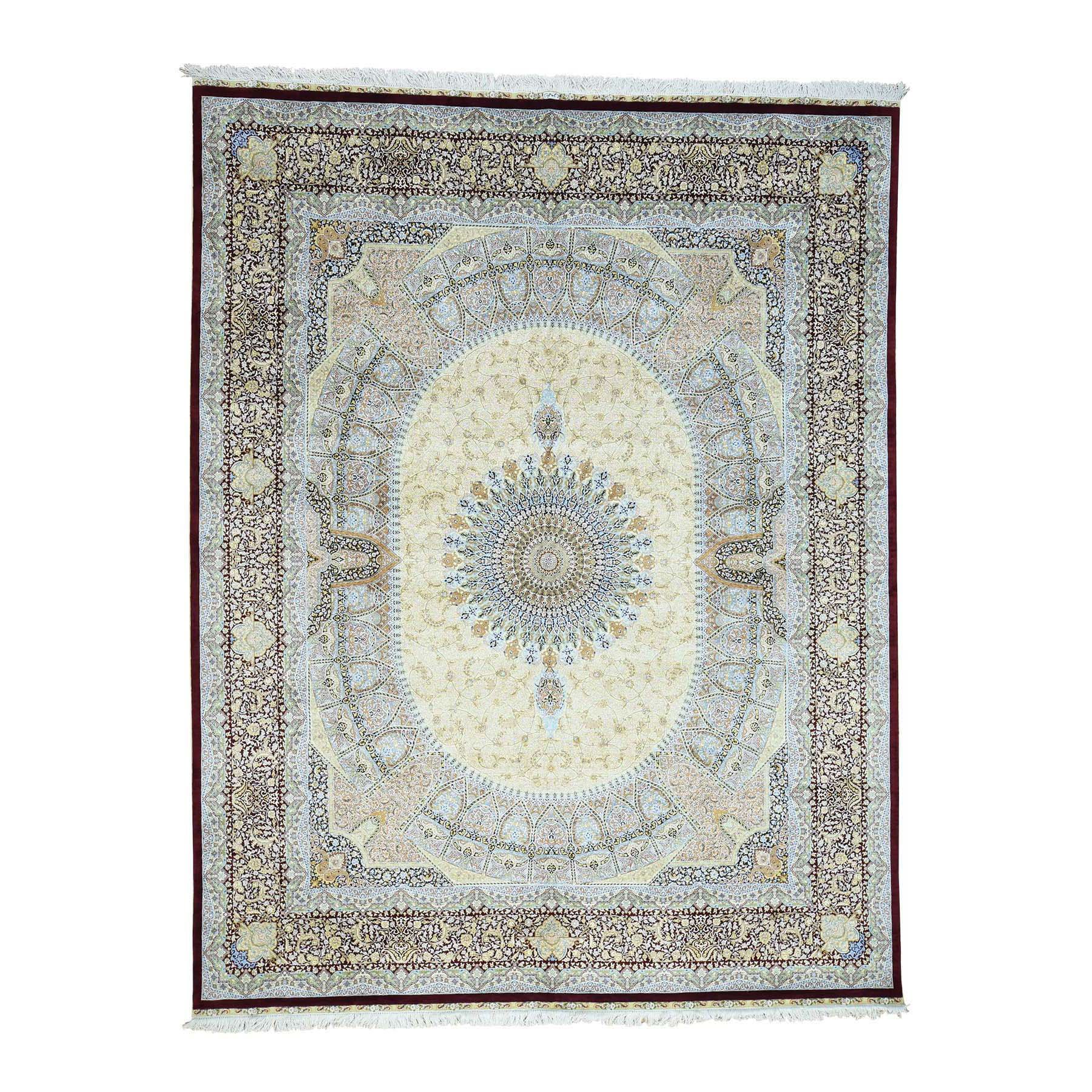 """8'3""""X10'8"""" Gombad Design Pure Silk 600 Kpsi Hand-Knotted Oriental Rug moacddc0"""