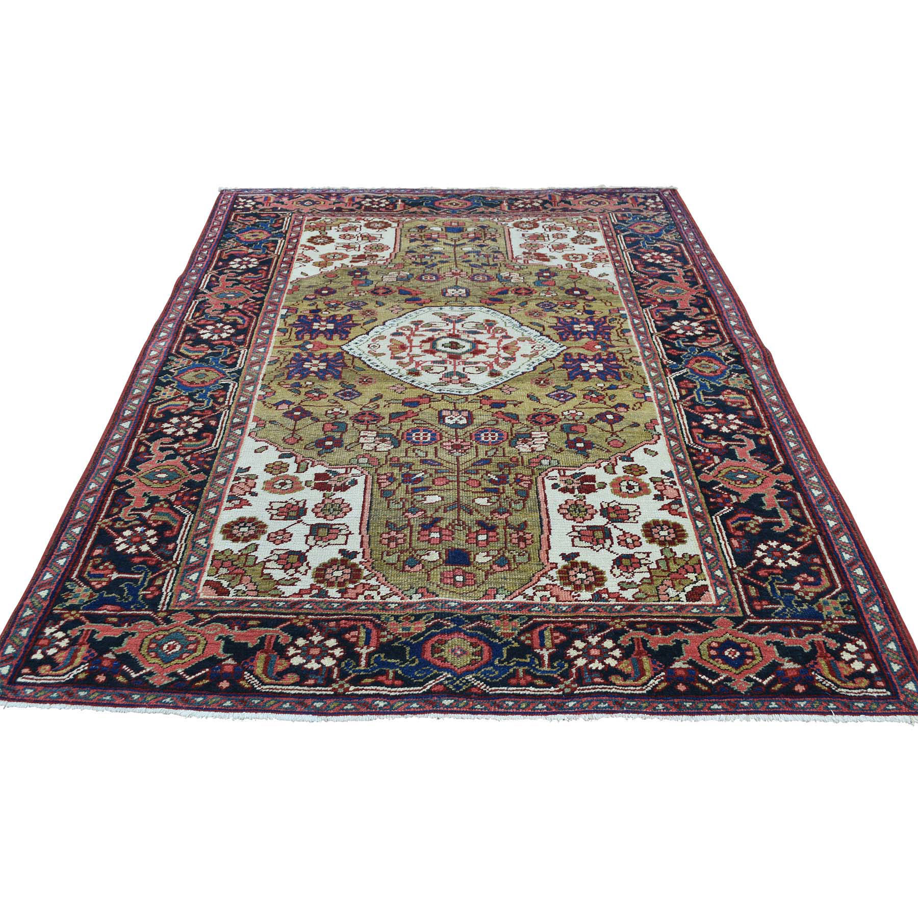 "4'6""X6'4"" Hand-Knotted Antique Persian Heriz Mint Cond Oriental Rug moacddea"
