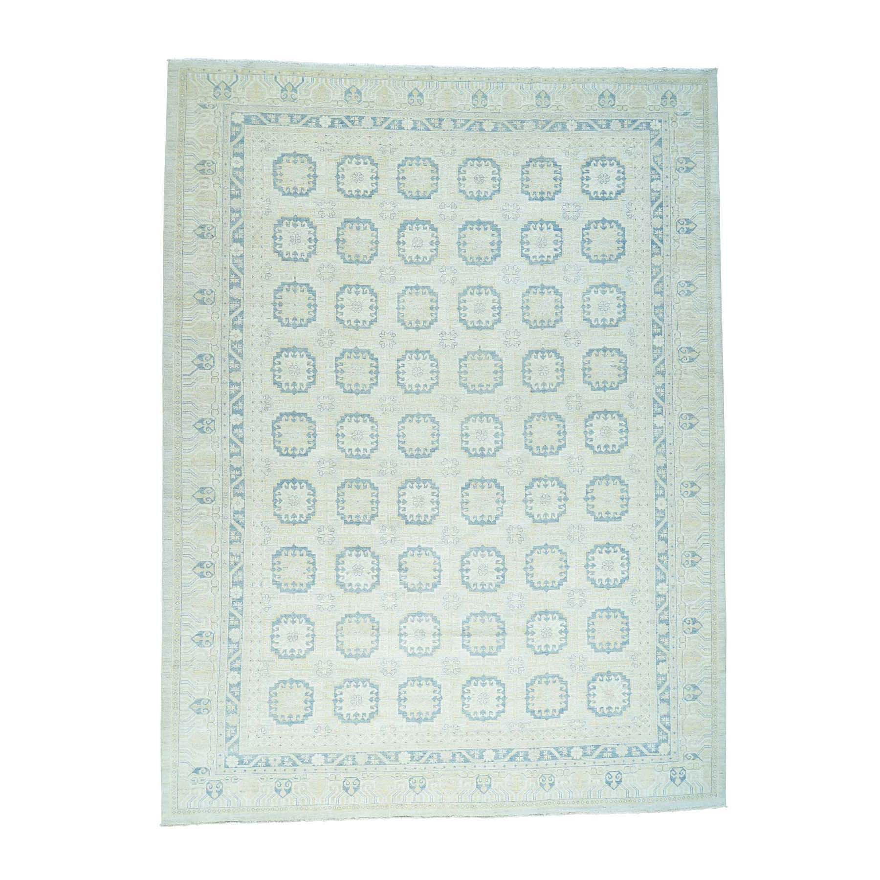 "13'1""X17'7"" White Wash Khotan Design Hand-Knotted Oriental Carpet moacde0b"