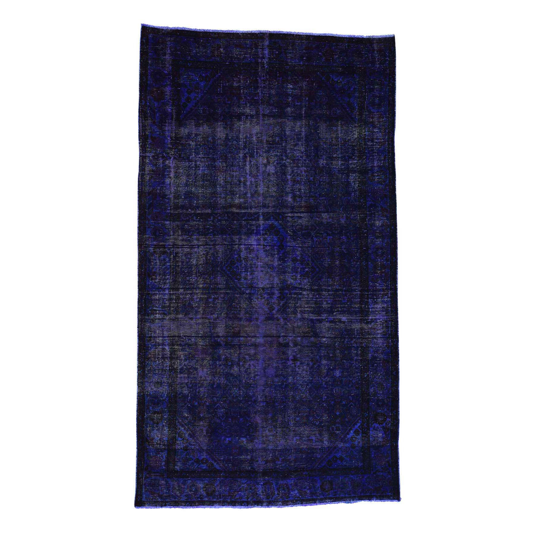 "5'8""x10' Handmade Pure Wool Overdyed Purple Wide Runner Hamadan Rug"