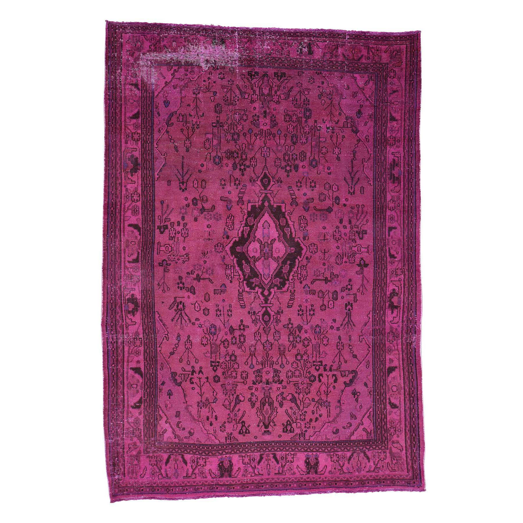 "6'10""x10' Pink Hand-Knotted Overdyed Bibikabad Pure Wool Oriental Rug"