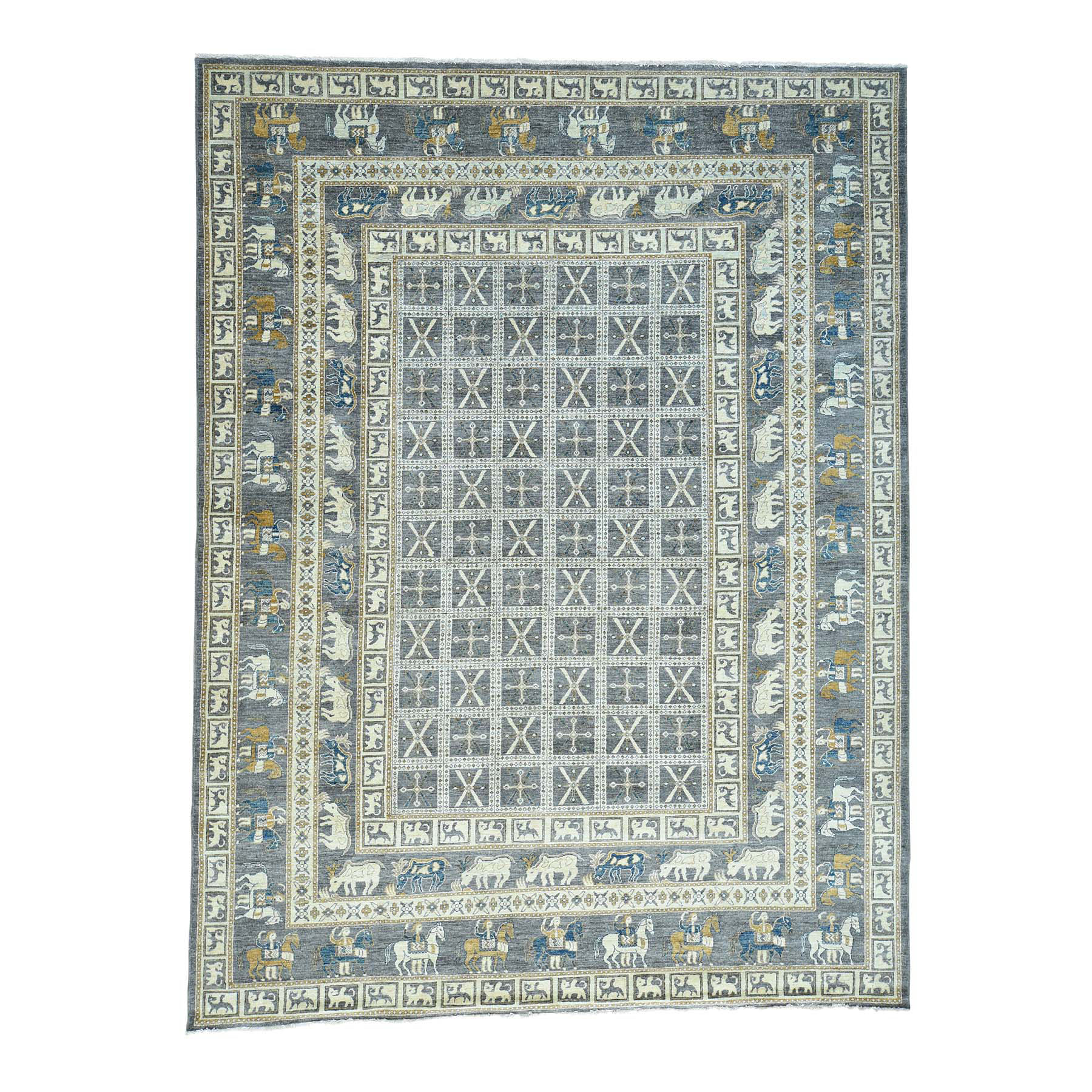 "10'1""X12'9"" Hand-Knotted Antiqued Pazyryk Design Peshawar Oriental Rug moacde99"
