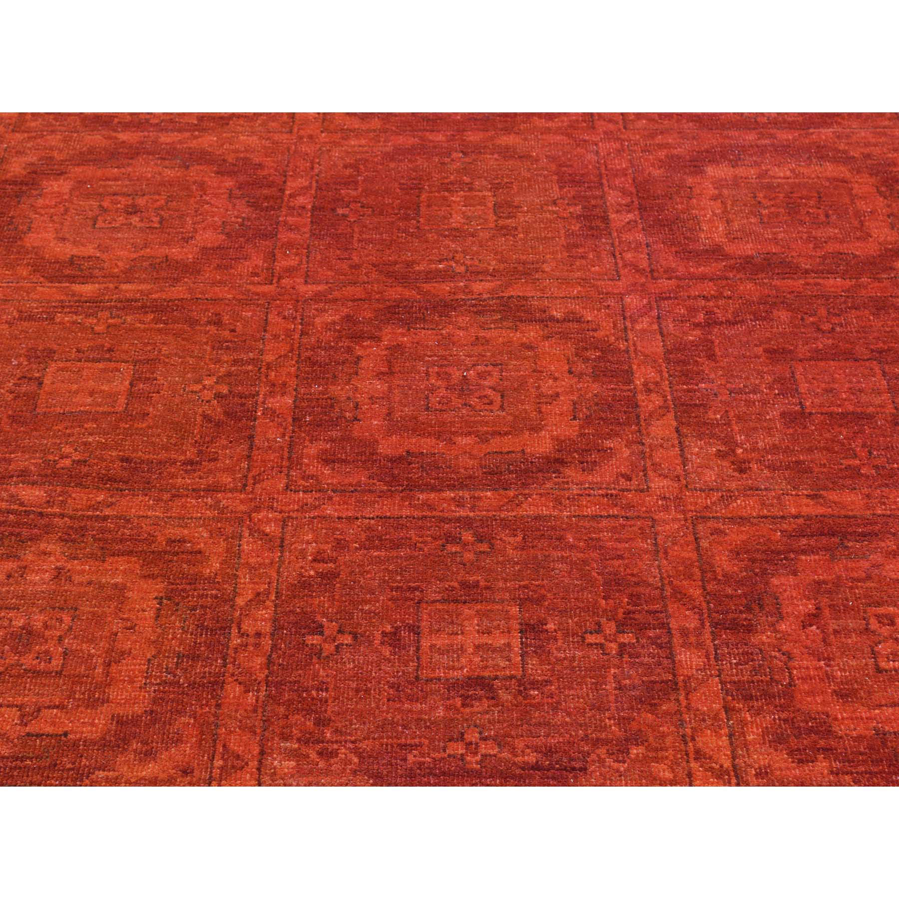 9-x12-2  Hand-Knotted Overdyed Khotan Design Pure Wool Red Oriental Rug
