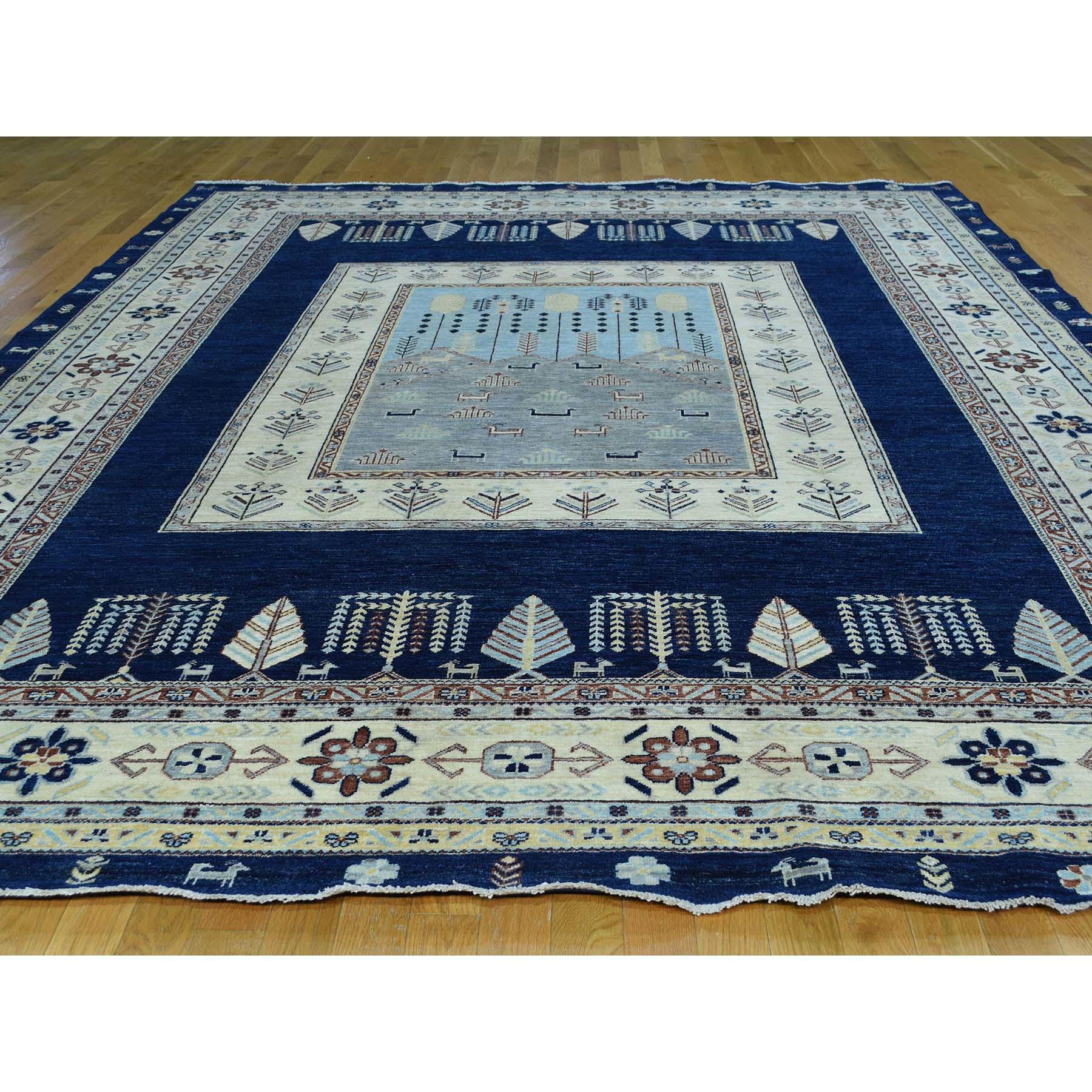 "9'3""x12'2"" Handmade Pure Wool Arts And Crafts Scenery Design Peshawar Rug"