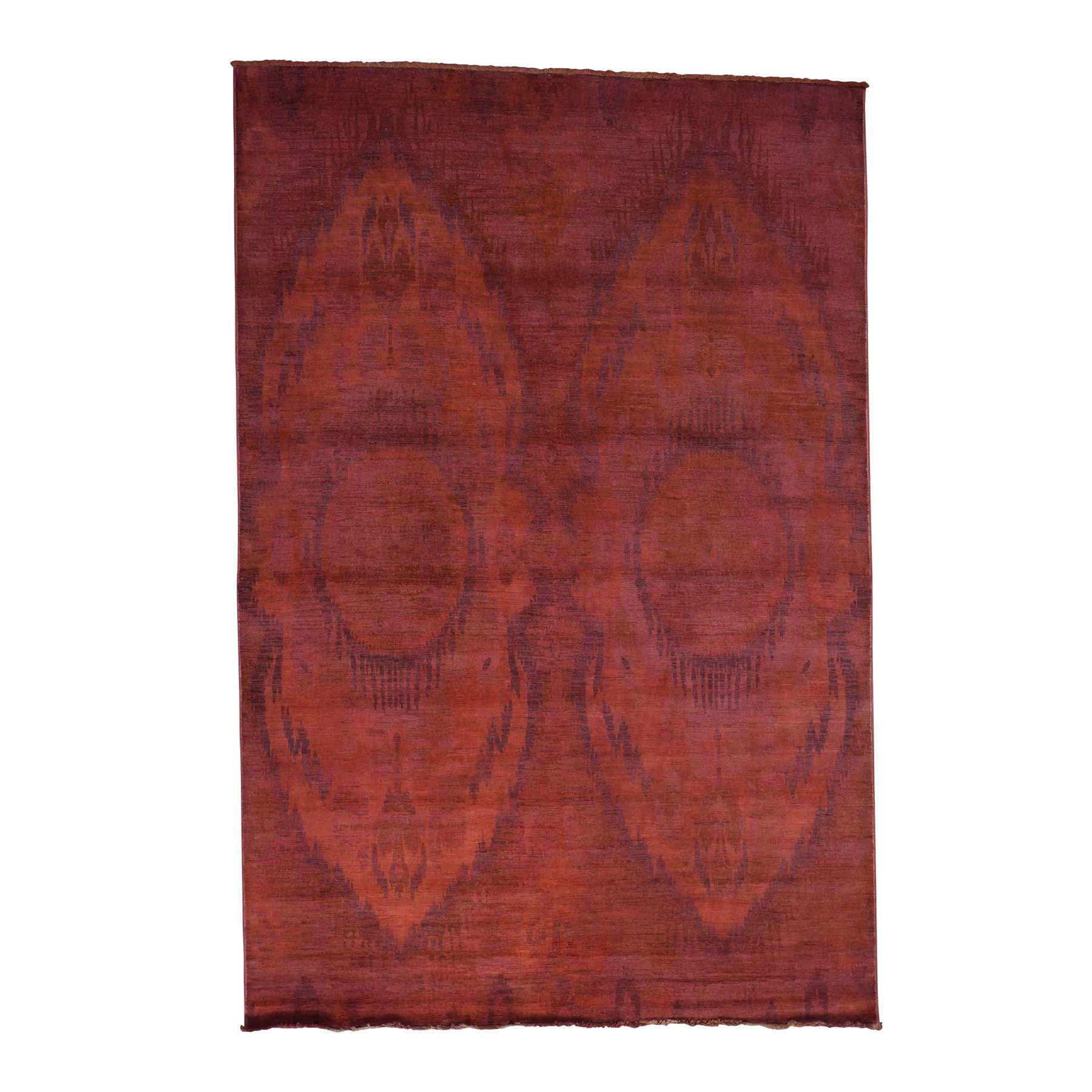 "6'2""X9'2"" Hand-Knotted Red Overdyed Ikat 100 Percent Wool Oriental Rug moacd76d"