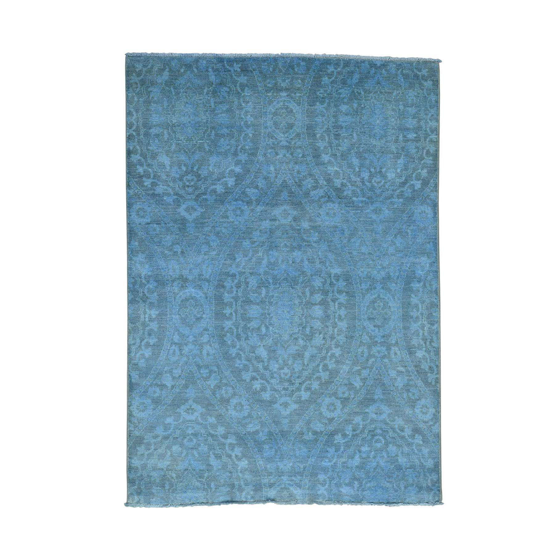 "5'1""X7'2"" Hand-Knotted Overdyed Ikat With Moughal Design Oriental Rug moacd77b"