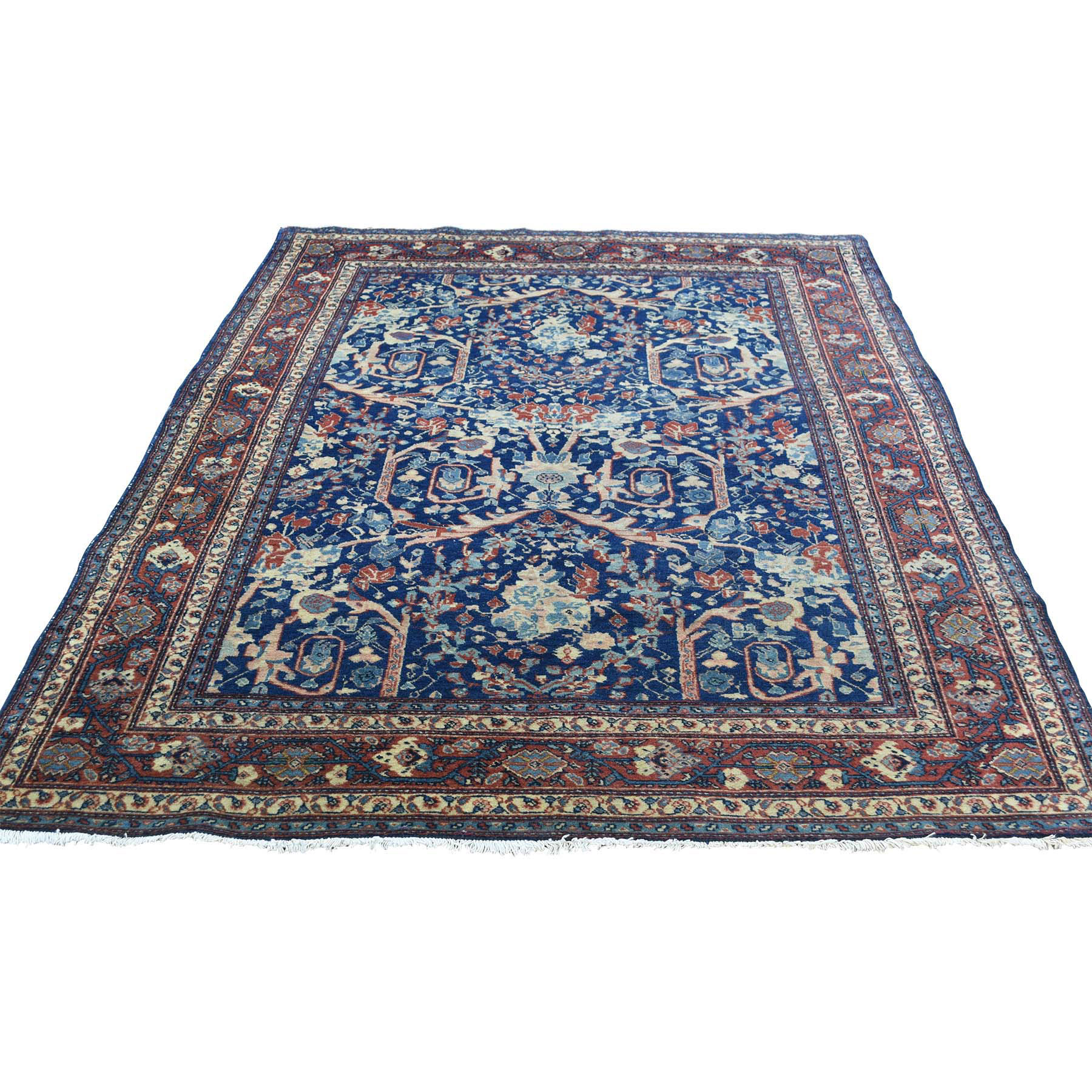 "4'6""X6'3"" Hand-Knotted Antique Persian Tabriz Navy Blue Full Pile Rug moacd78c"