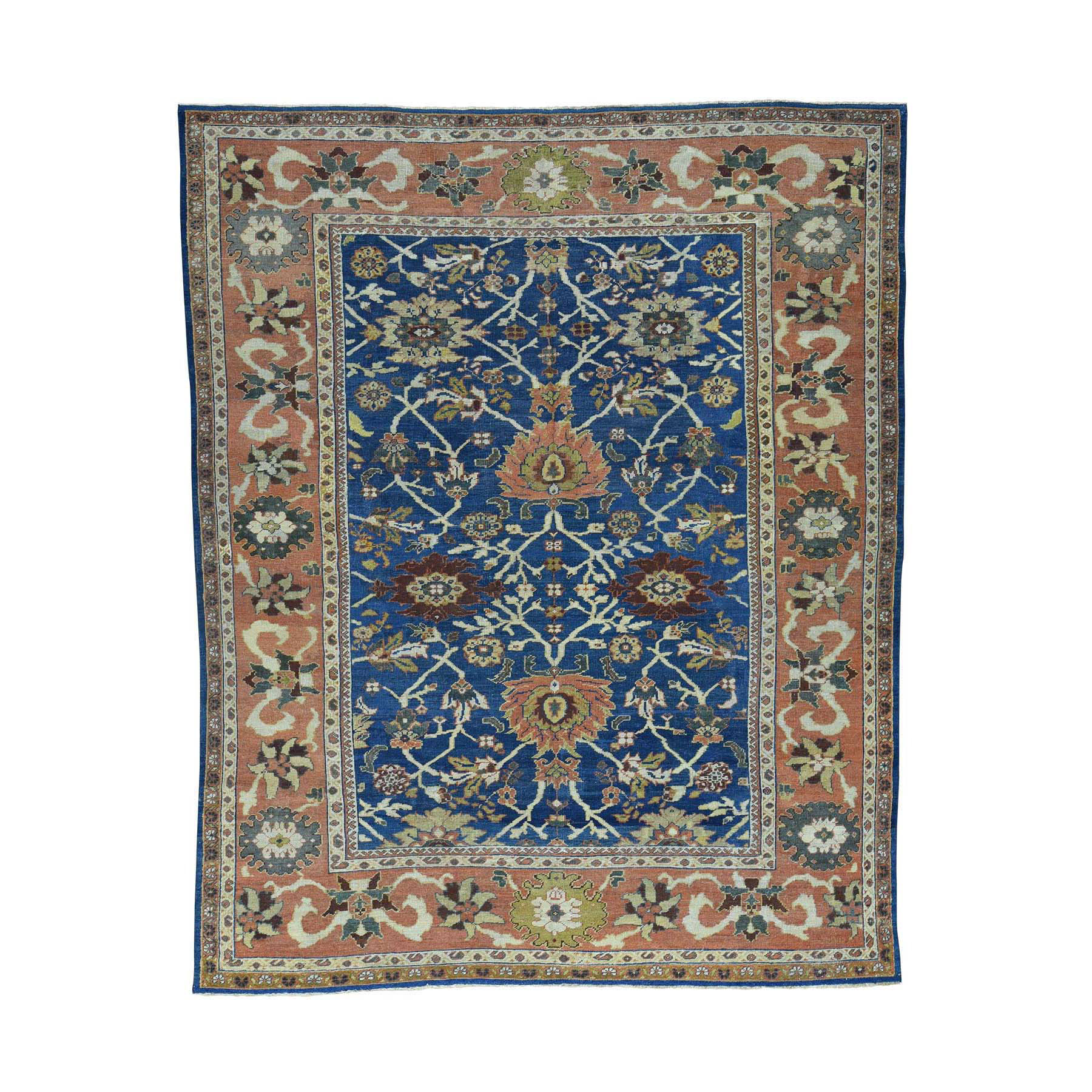 "8'1""X10'1"" Antique Persian Mahal Navy Blue Even Wear Handmade Rug moacd788"