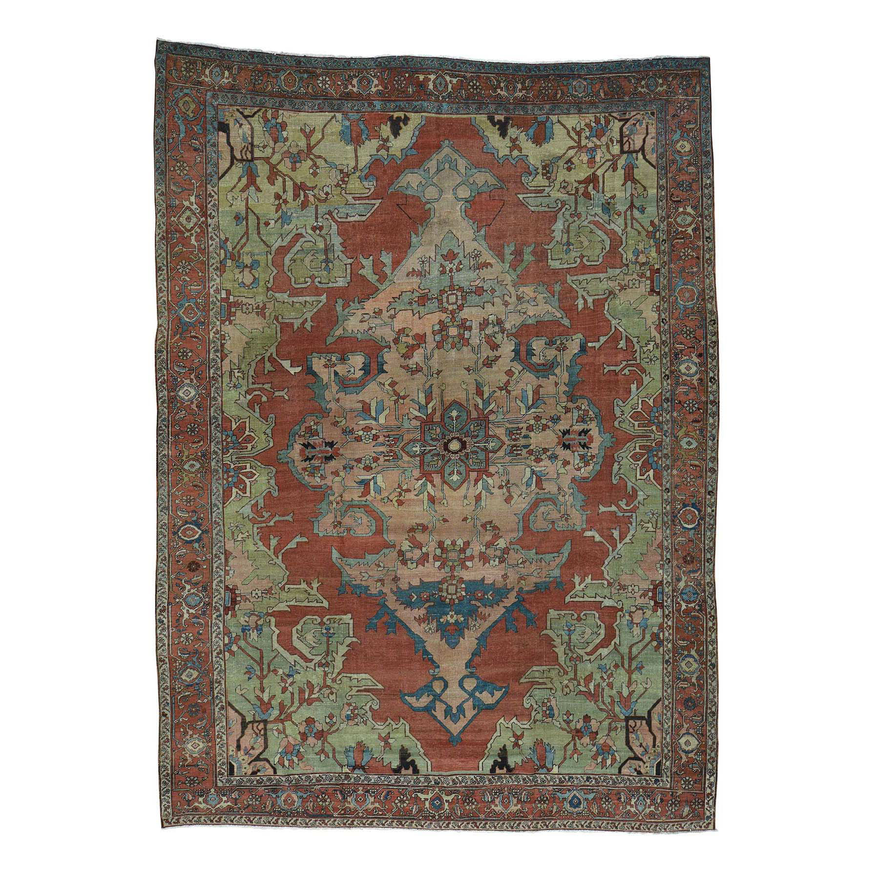 "9'2""X13' Antique Persian Serapi Even Wear Hand-Knotted Oriental Rug moacd789"