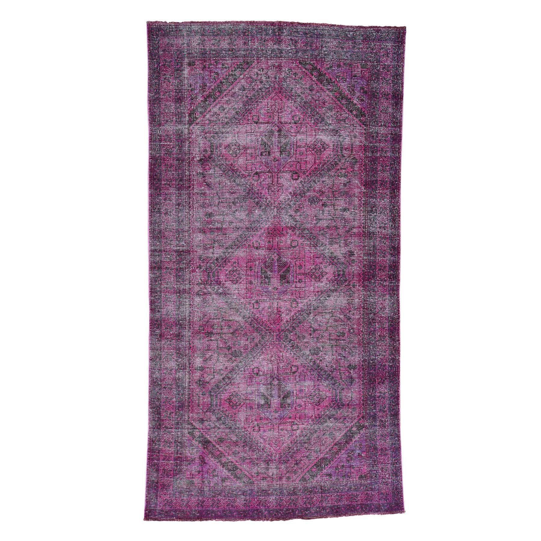 "5'3""X9'8"" Handmade Overdyed Persian Shiraz Vintage Wide Runner Rug moacd8a8"