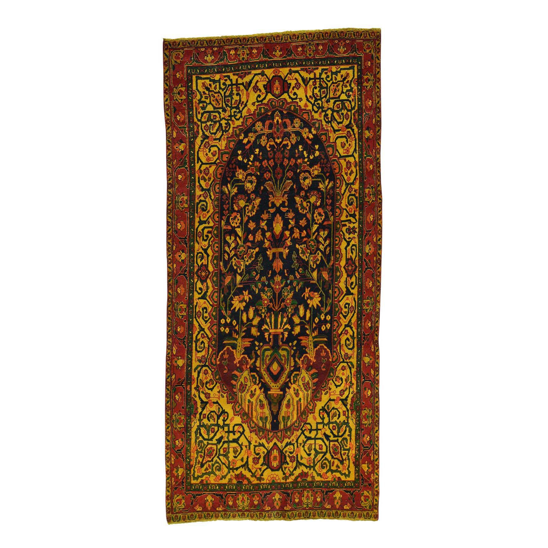 "4'6""X10'3"" Handmade Overdyed Persian Bakhtiari Vintage Wide Runner Rug moacd8c8"