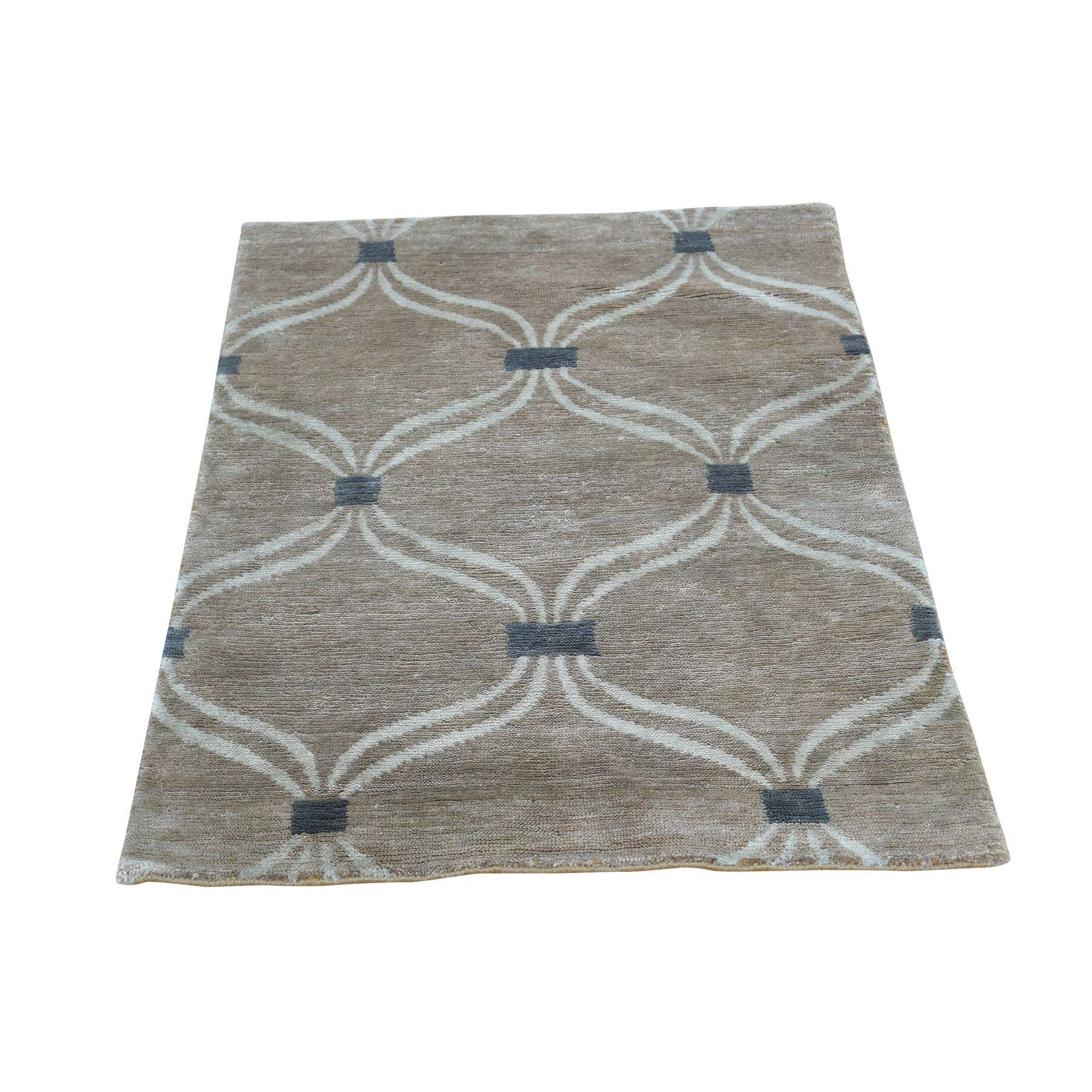 2'X3' Hand-Knotted Wool And Silk Modern Design Taupe Oriental Rug moacd9d7