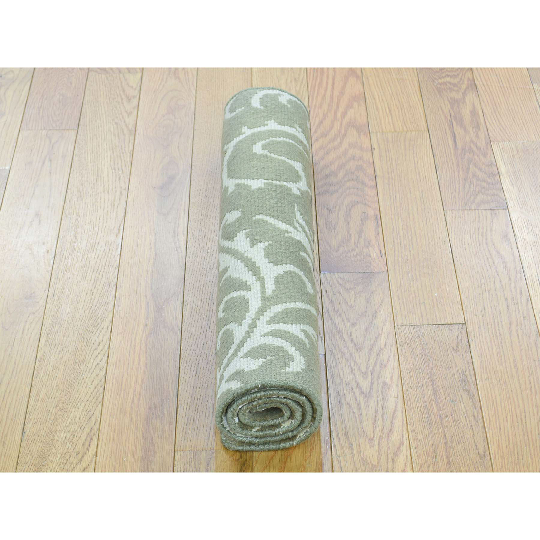 2-x2-9  Hand-Knotted Wool and Silk Nepali Olive Green Oriental Rug