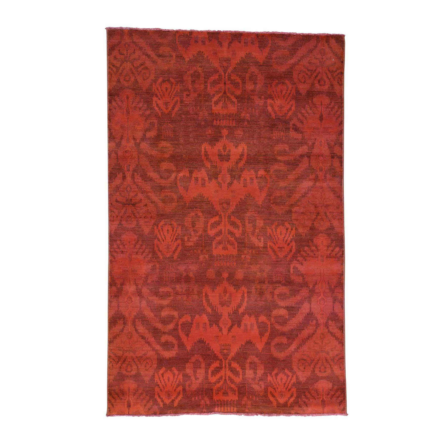 "5'2""X8'3"" Hand-Knotted Red Cast Overdyed Ikat Pure Wool Oriental Rug moacd996"