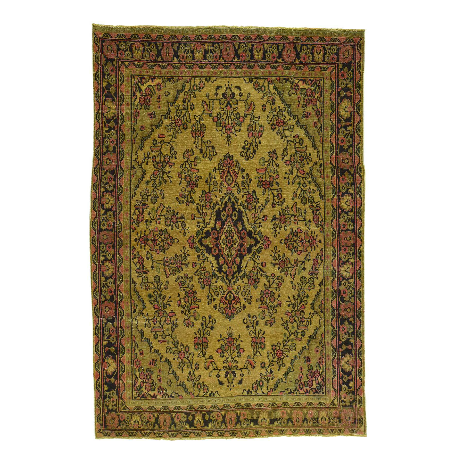 """6'6""""X9'10"""" Hand Knotted Gold Cast Overdyed Persian Tabriz Vintage Rug moace0ad"""