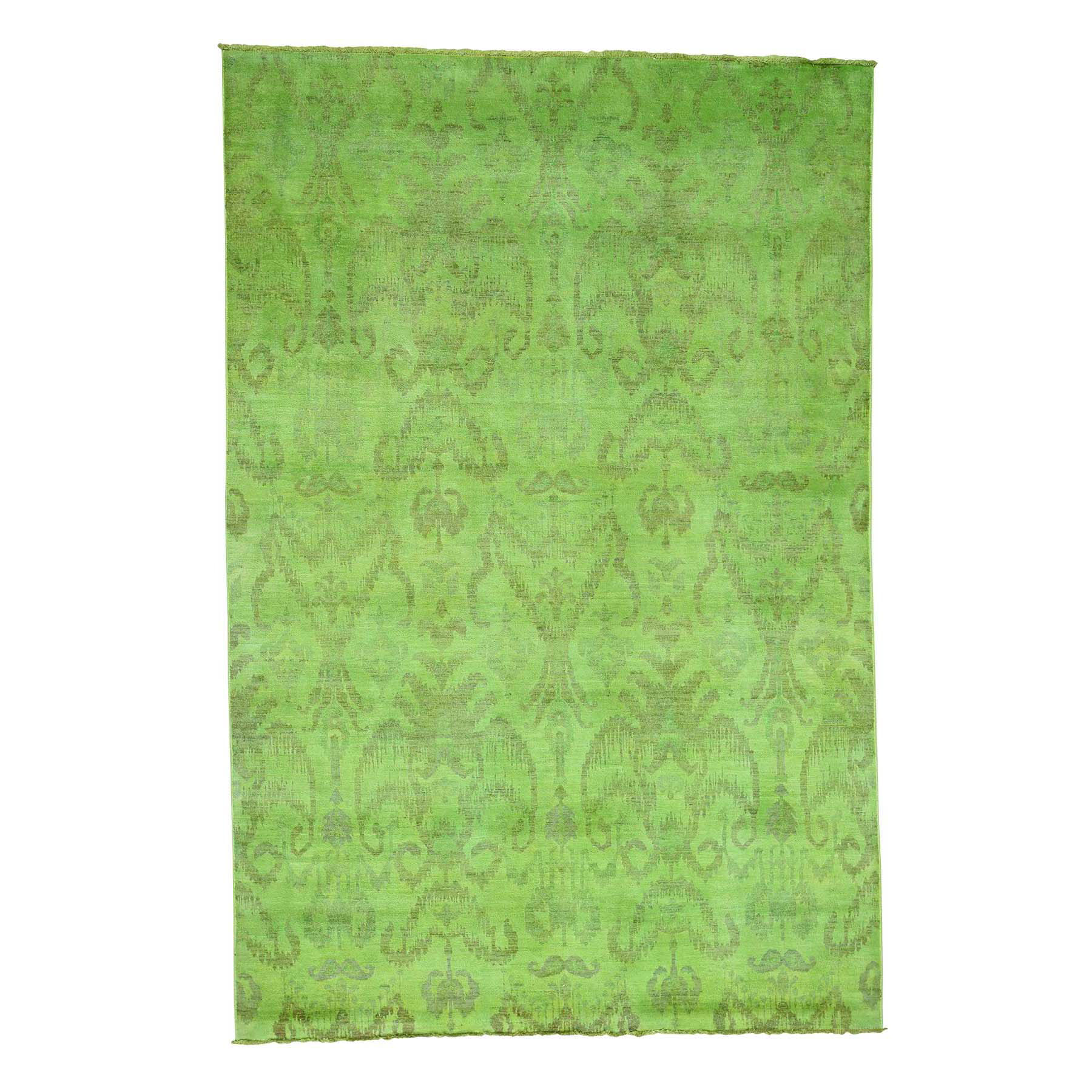 "6'1""x9'1"" Hand Knotted Green Cast Ikat Overdyed Pure Wool Oriental Rug"