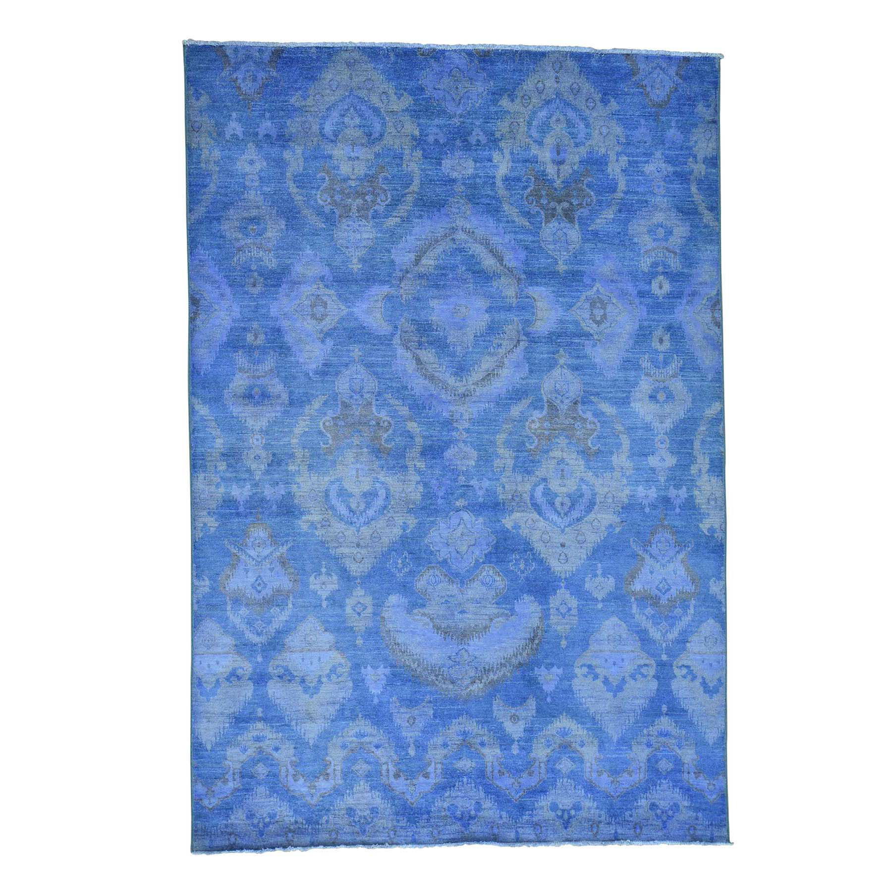 "6'2""X9'1"" Hand Knotted Blue Cast Ikat Overdyed Pure Wool Oriental Rug moace0e8"