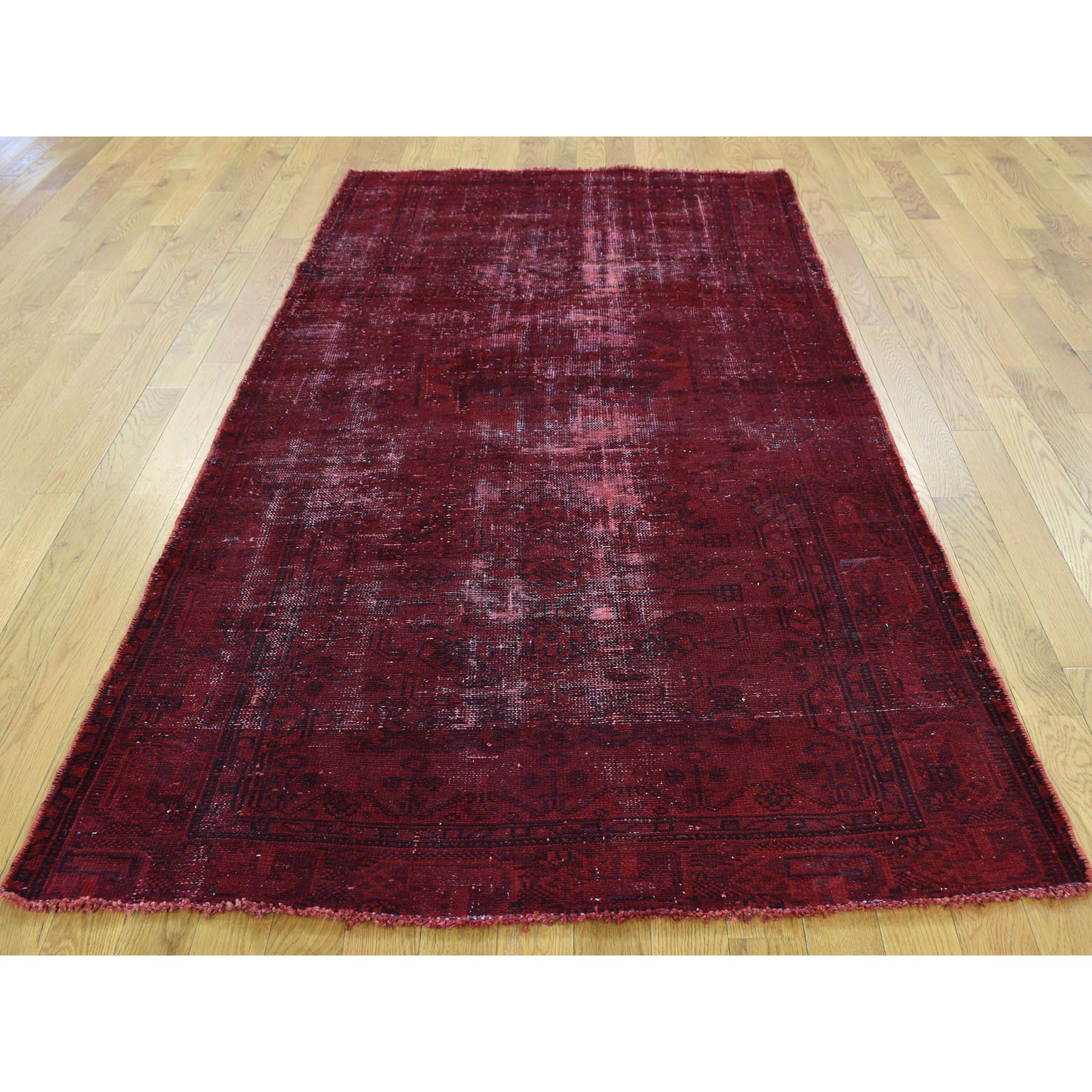 4-1 x7-6  Hand-Knotted Overdyed Persian Hamadan Worn Wide Runner Rug
