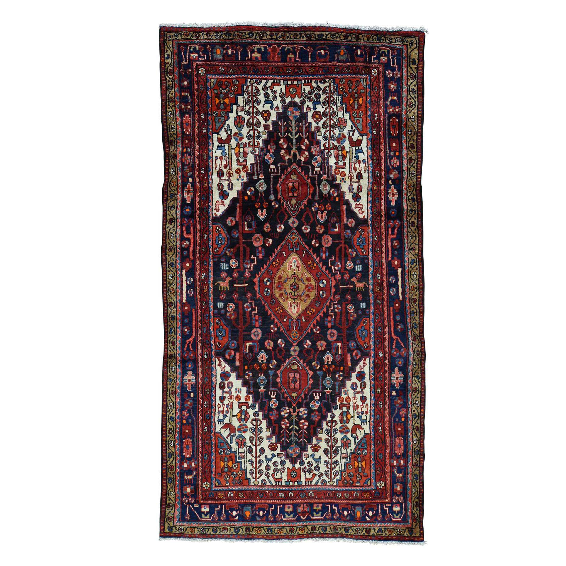 """5'3""""X10'2"""" Hand Knotted Semi Antique Persian Nahavand Pure Wool Rug moaceace"""