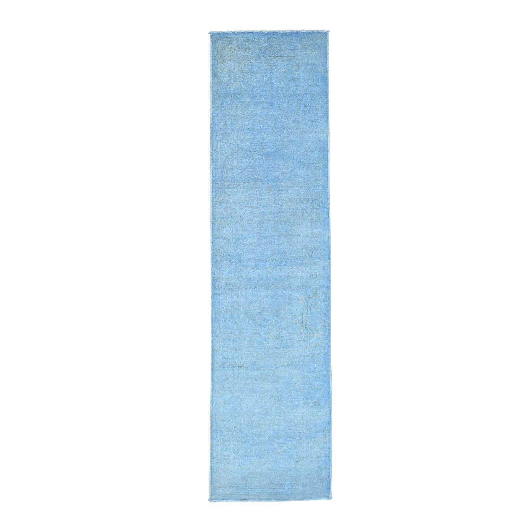 "2'6""X9'8"" Hand Knotted Sky Blue Peshawar Overdyed Pure Wool Runner Rug moacea6a"