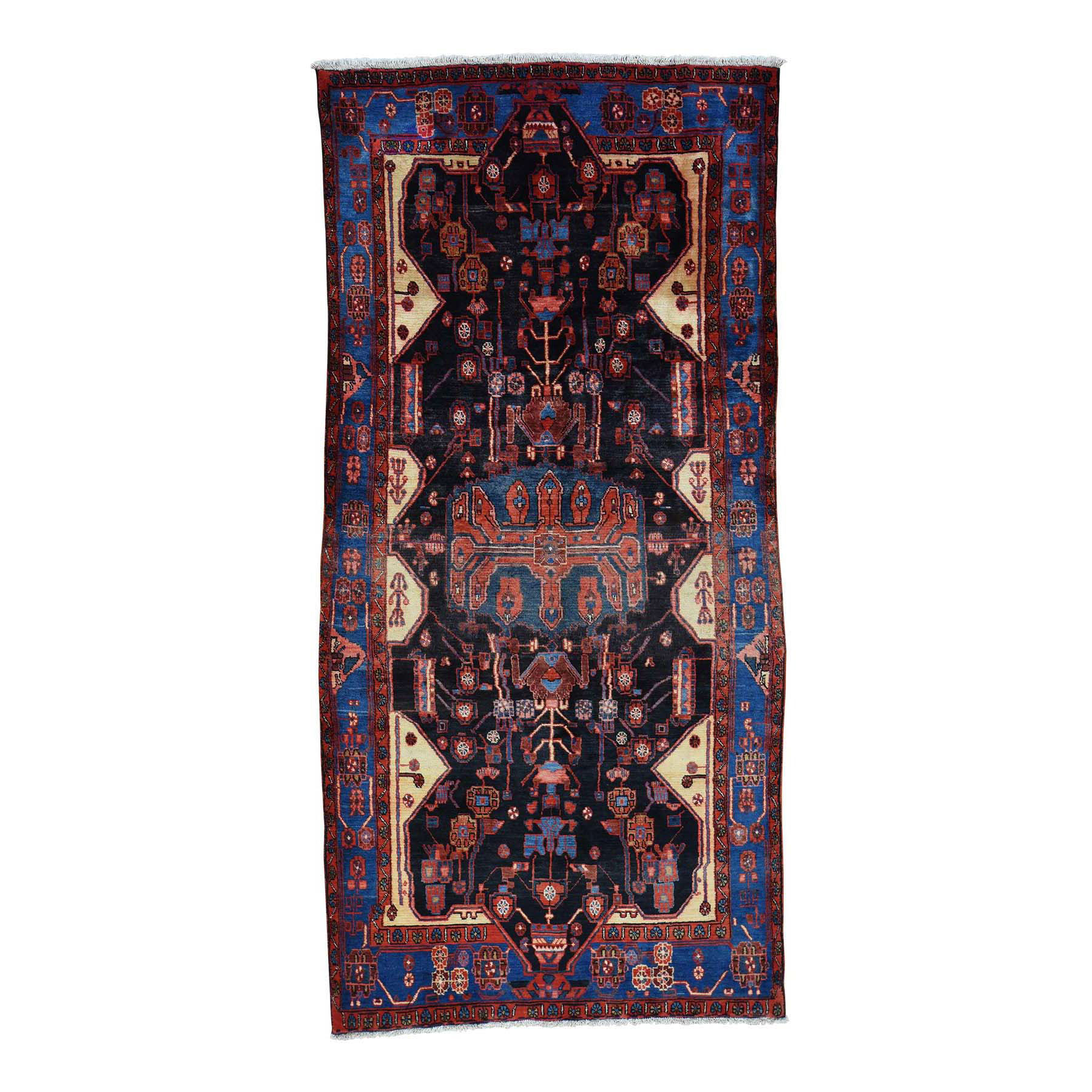 """4'8""""X9'10"""" Hand Knotted Persian Nahavand Full Pile Wide Runner Rug moacea8b"""